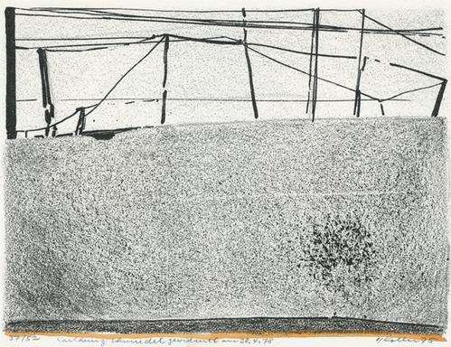 Oskar Koller - Mauer, Originallithografie mit Aquarell,1975 kopen? Bied vanaf 170!