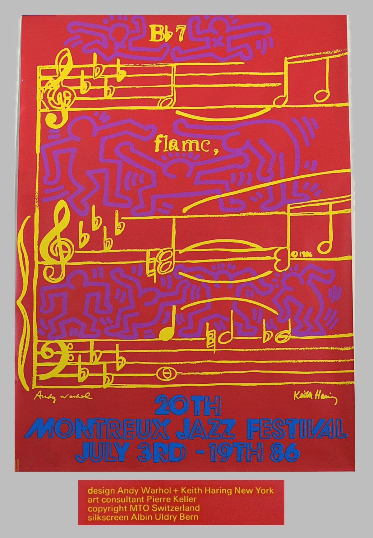 "Keith Haring - ""Bb7 , flame"" Haring und Warhol , Plakat Montreux 1986 kopen? Bied vanaf 170!"