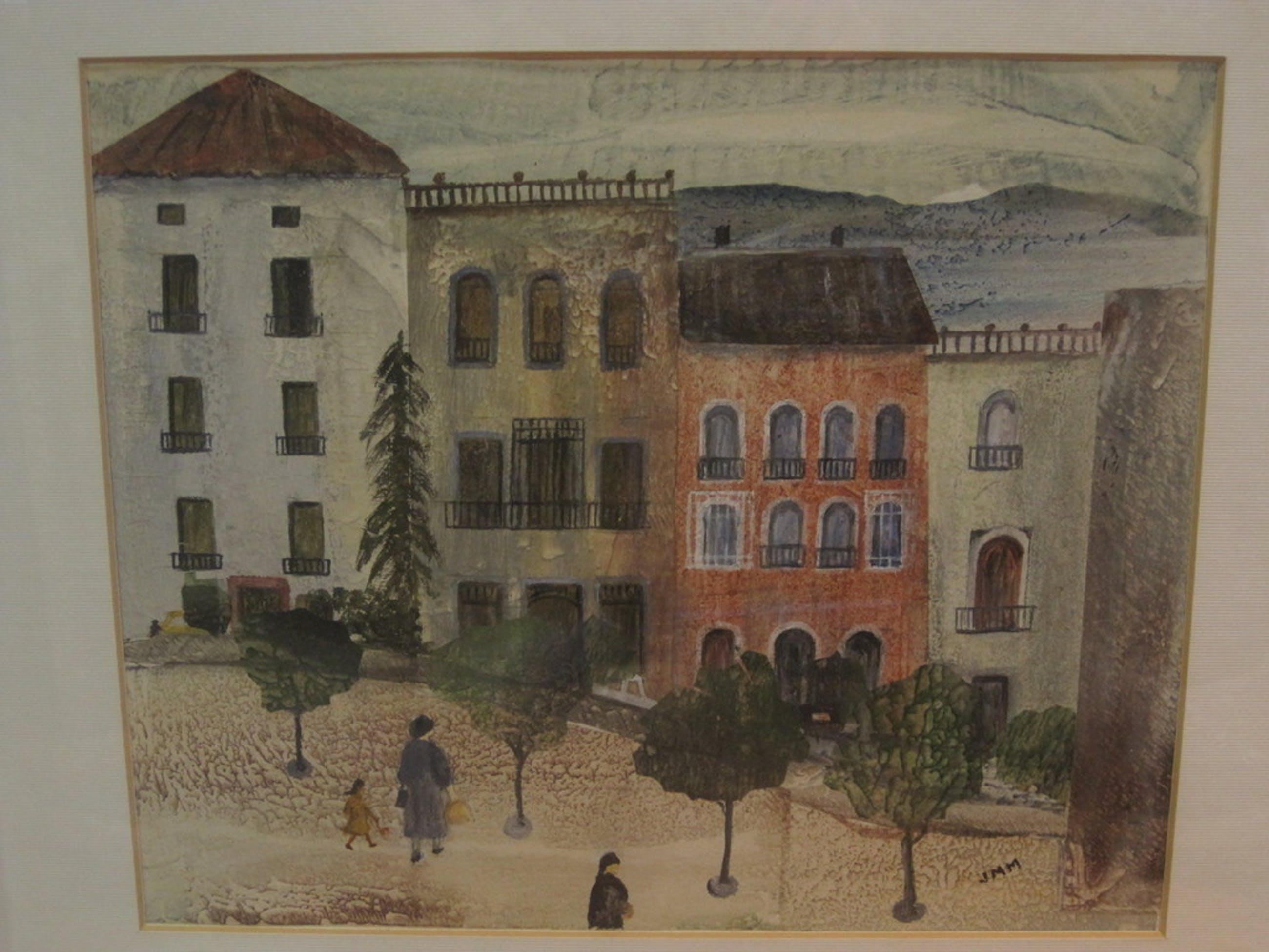 """monogram JMM - pastel """"Parijs - personen op plein"""" omstreeks 1950  kopen? Bied vanaf 1!"""