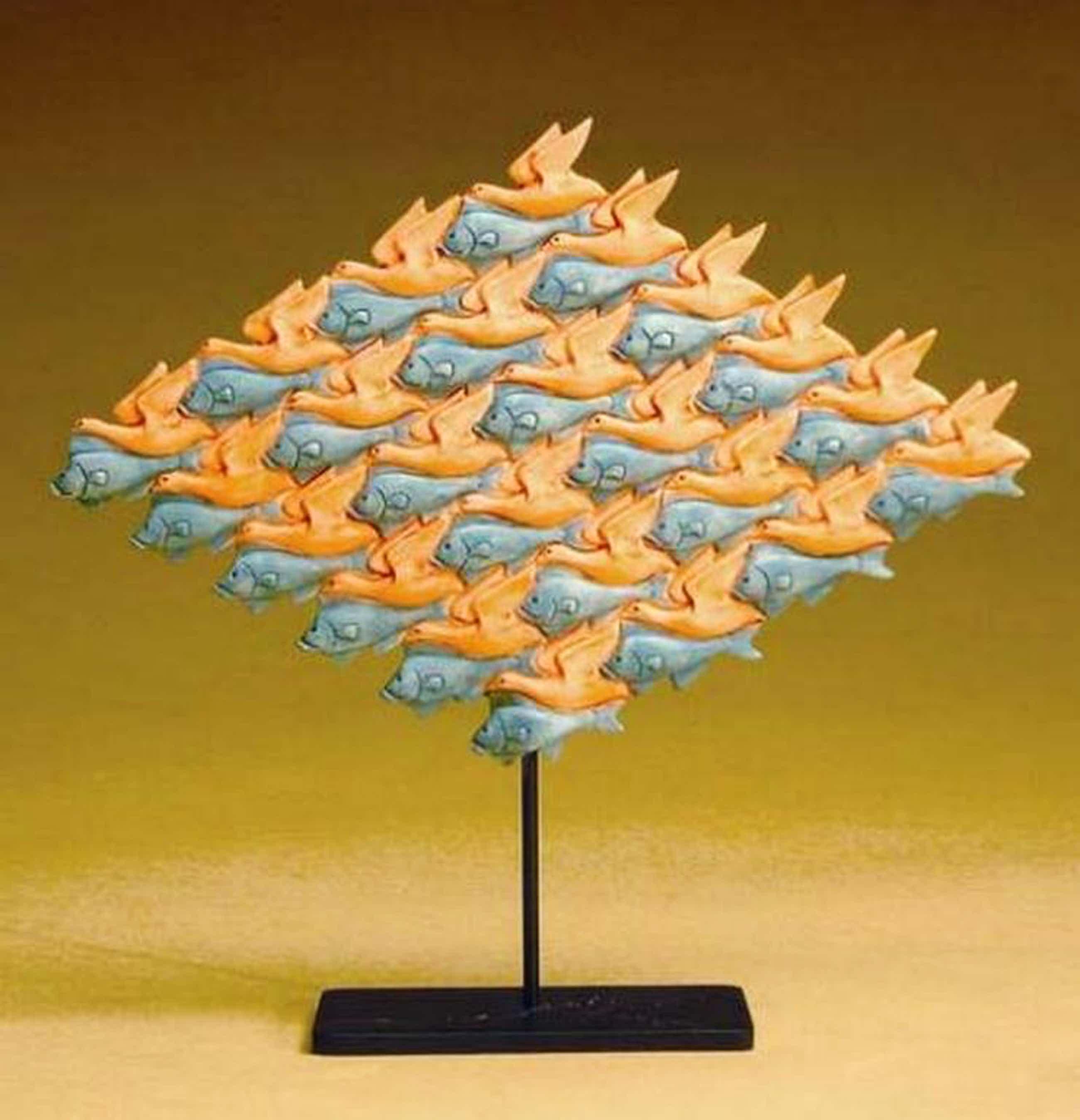 MC ESCHER, 3D-sculpture: Vogel - Vis kopen? Bied vanaf 44!