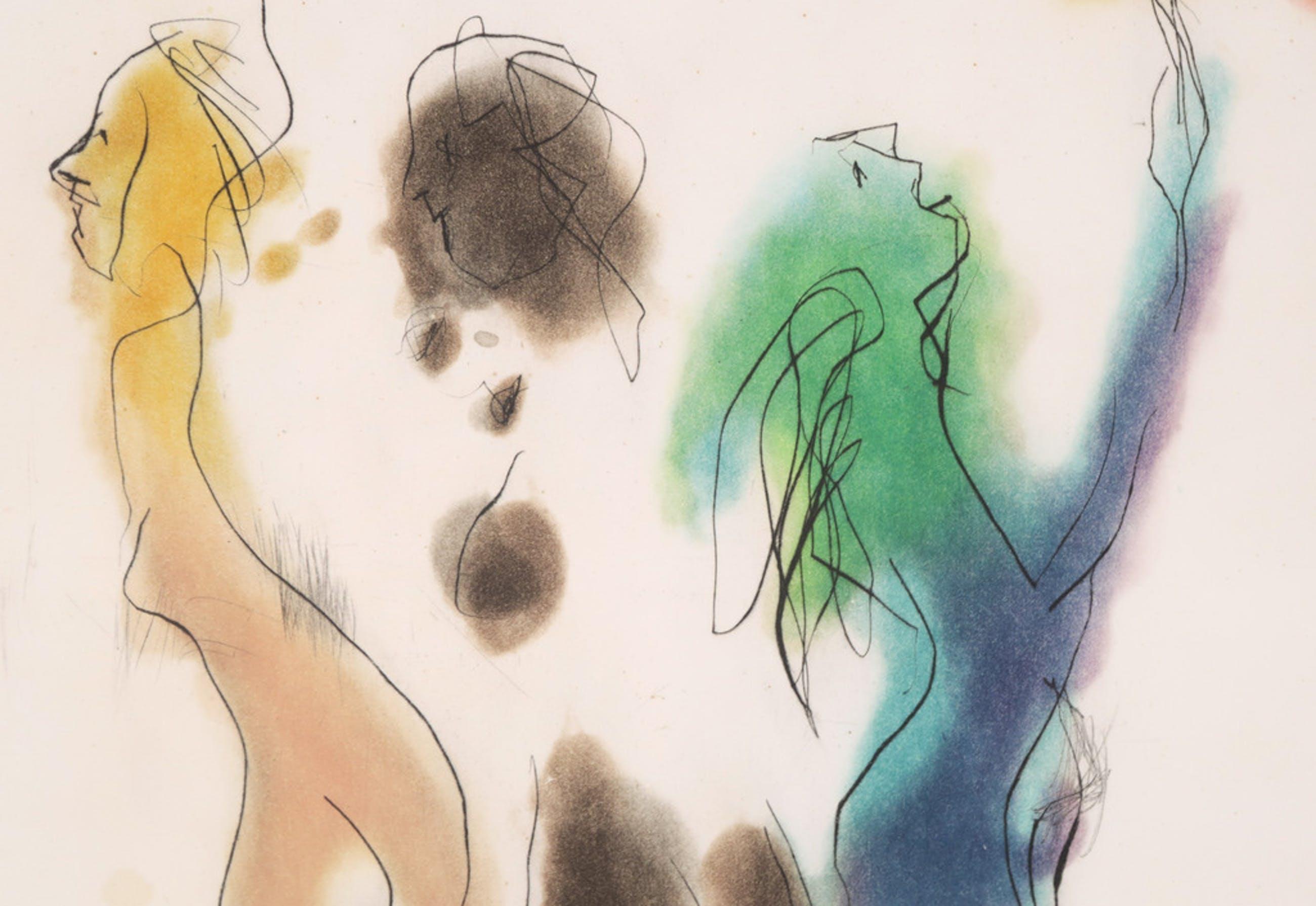 Ger Lataster: Droge naalde en aquatint, Compositie met figuren kopen? Bied vanaf 1!