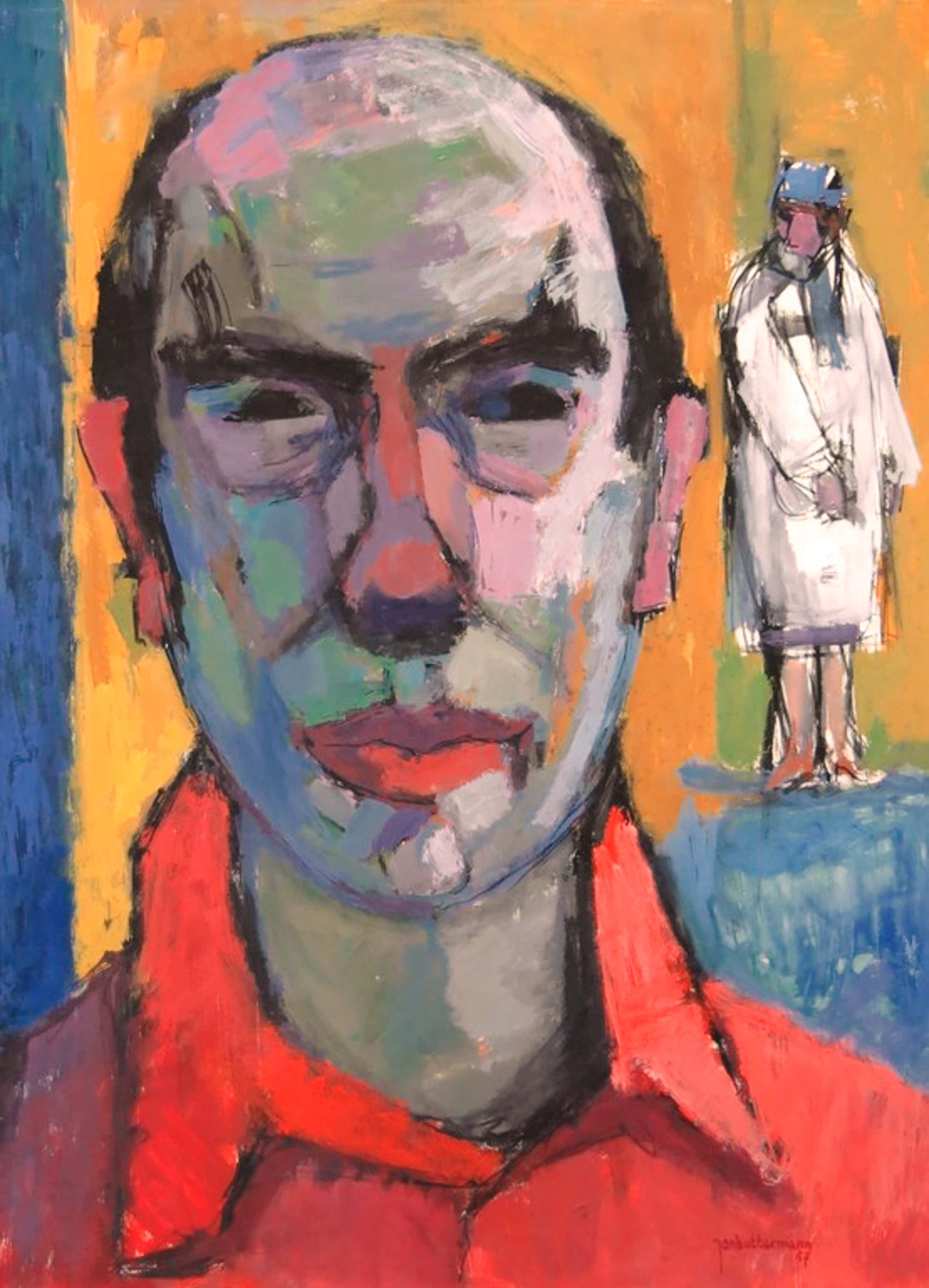 Jan Battermann: Gouache, Zelfportret van de schilder en zijn vrouw kopen? Bied vanaf 140!