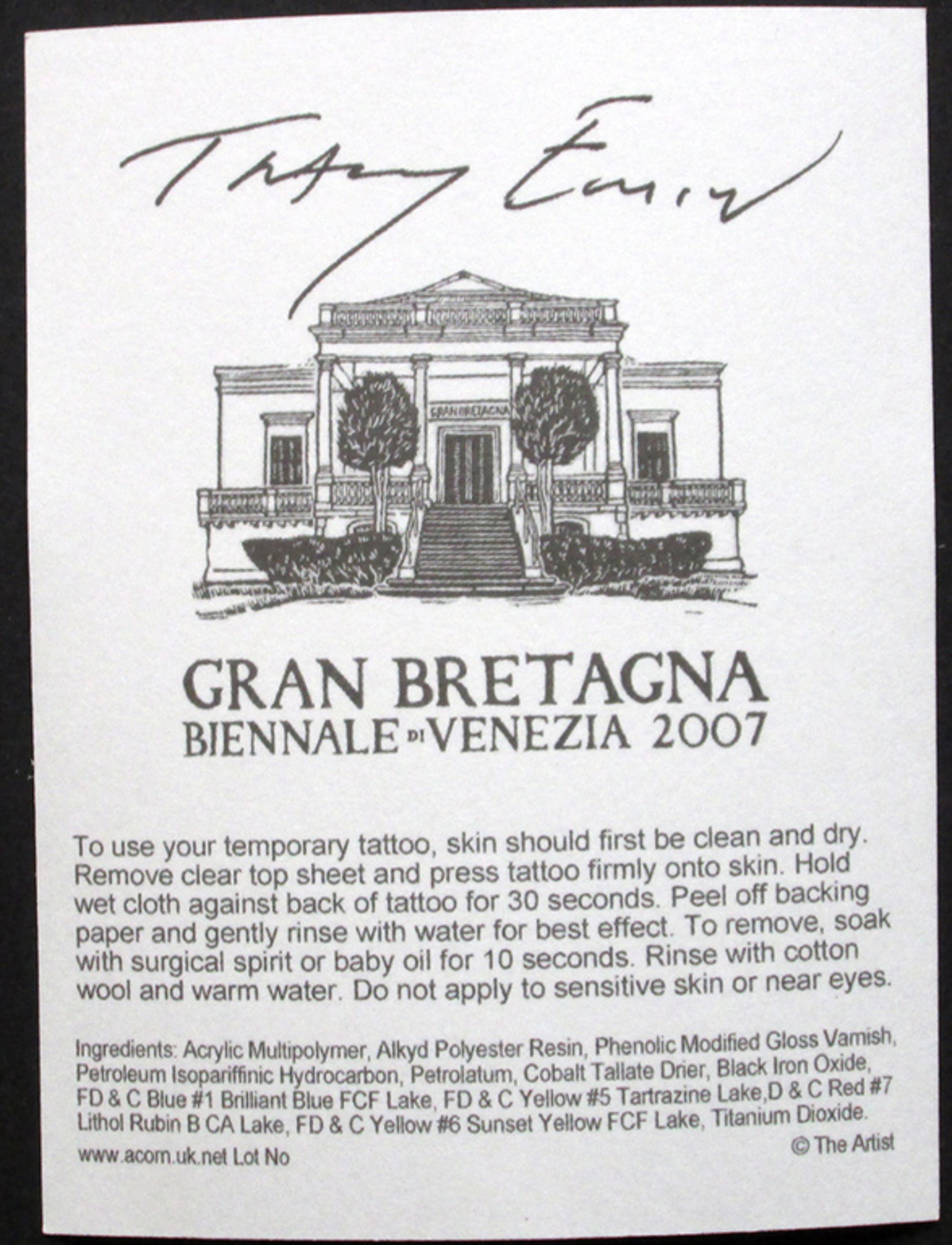 Biennale 2007 - Singing Bird - Tracey Emin, in passe-partout - ready to frame  kopen? Bied vanaf 28!