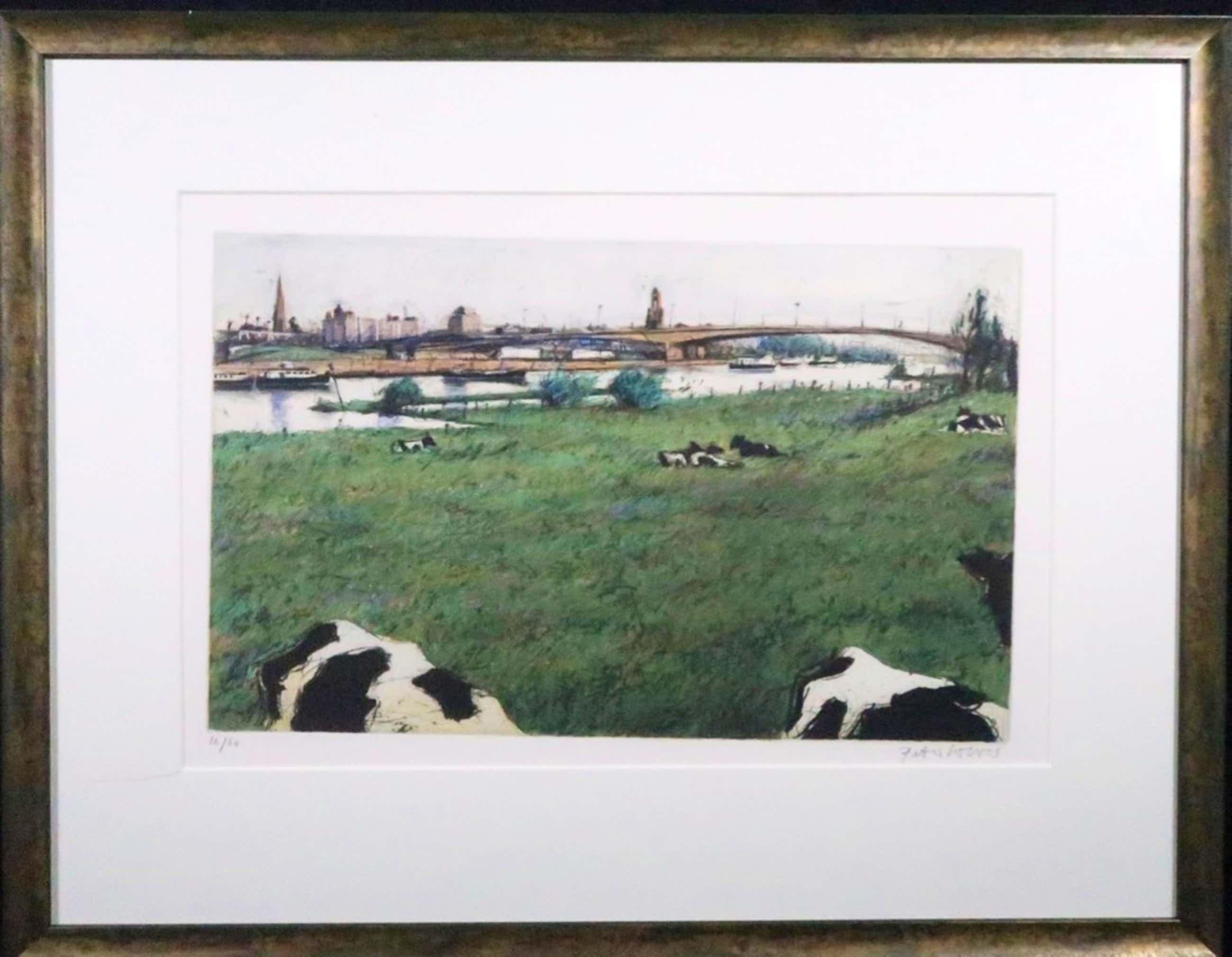 Peter Wever: Ets, Landschap met koeien - Ingelijst kopen? Bied vanaf 60!