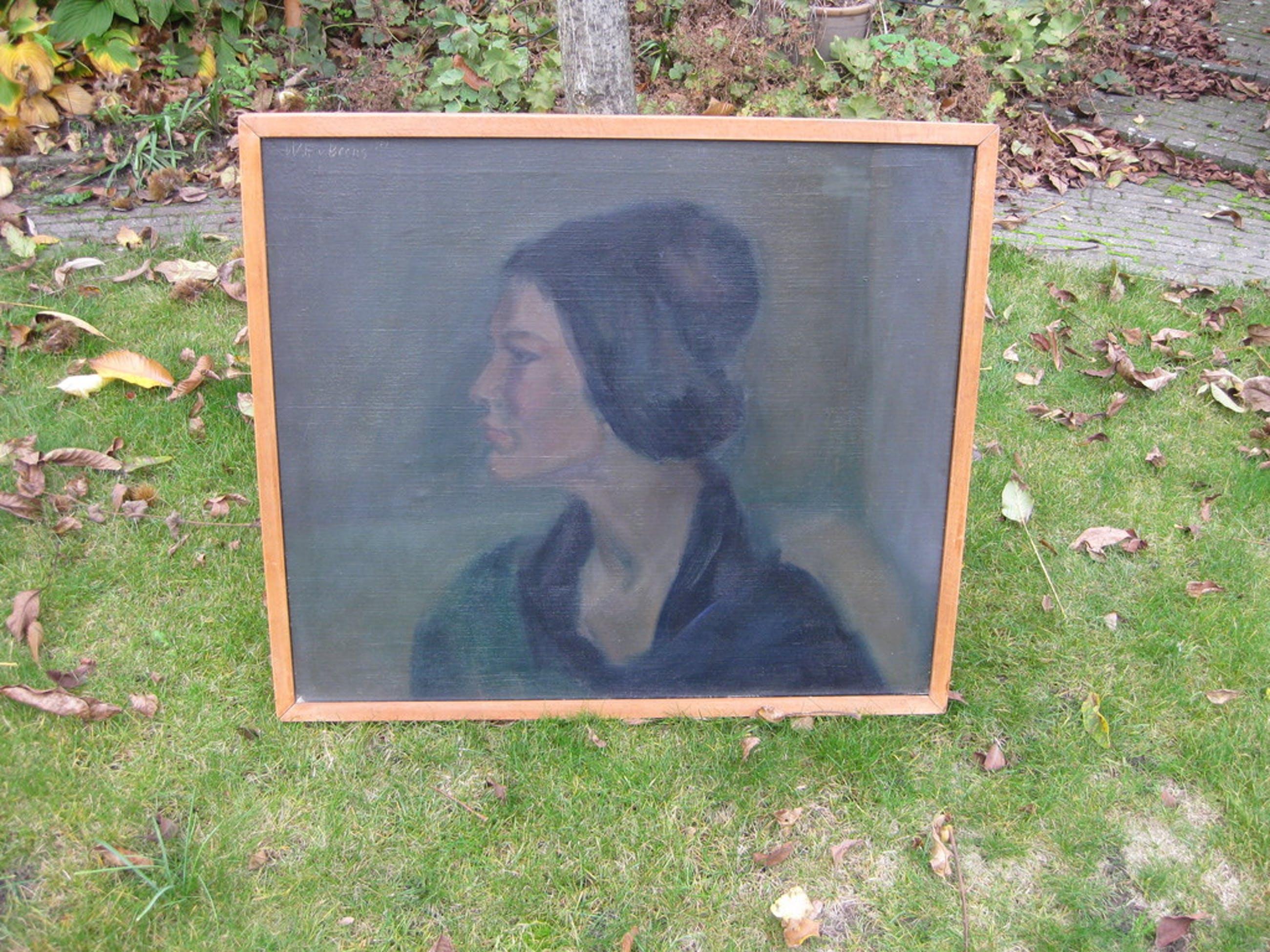 Willem van Beers: Olieverf op linnen, Vrouwenportret kopen? Bied vanaf 45!