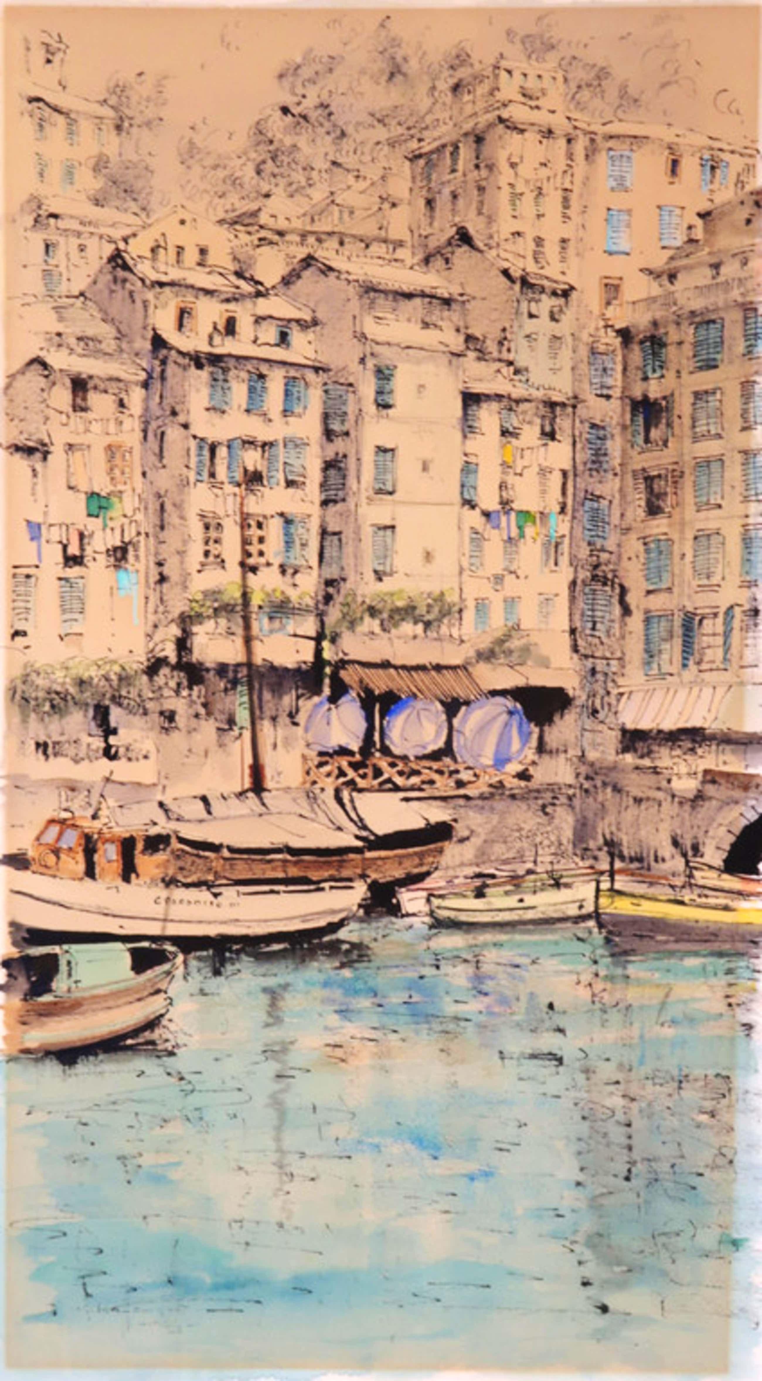 Jan den Hengst: Aquarel en inkt op papier, Harbour on the Mediterranean coast kopen? Bied vanaf 40!