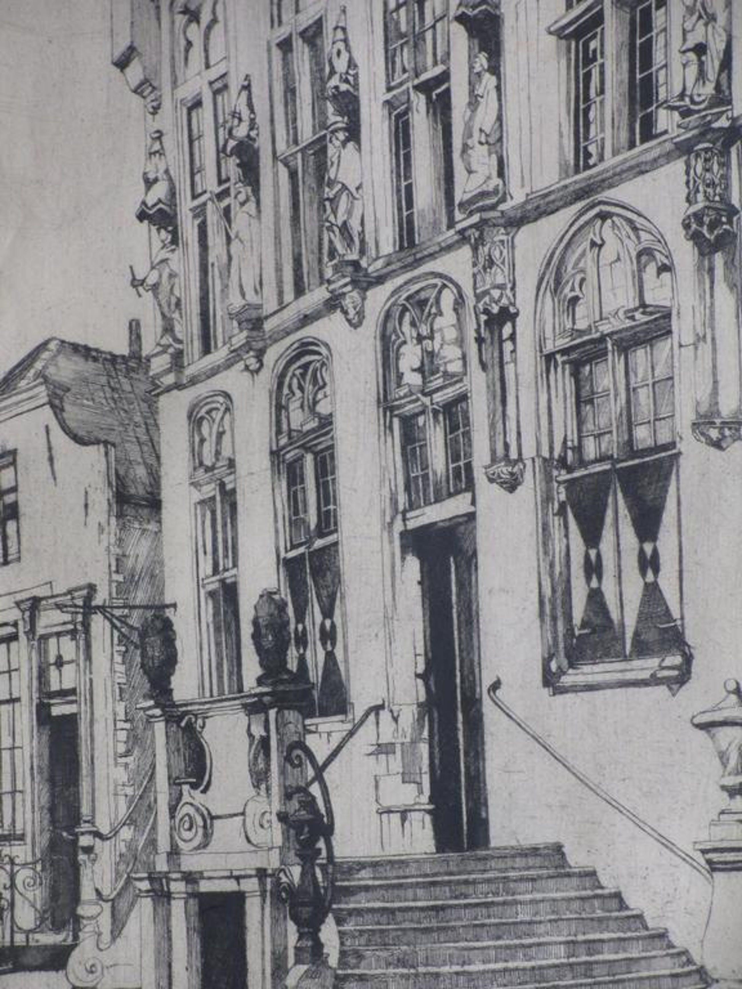 Rudolf Schönberg, Het stadhuis van Veere, Ets kopen? Bied vanaf 45!