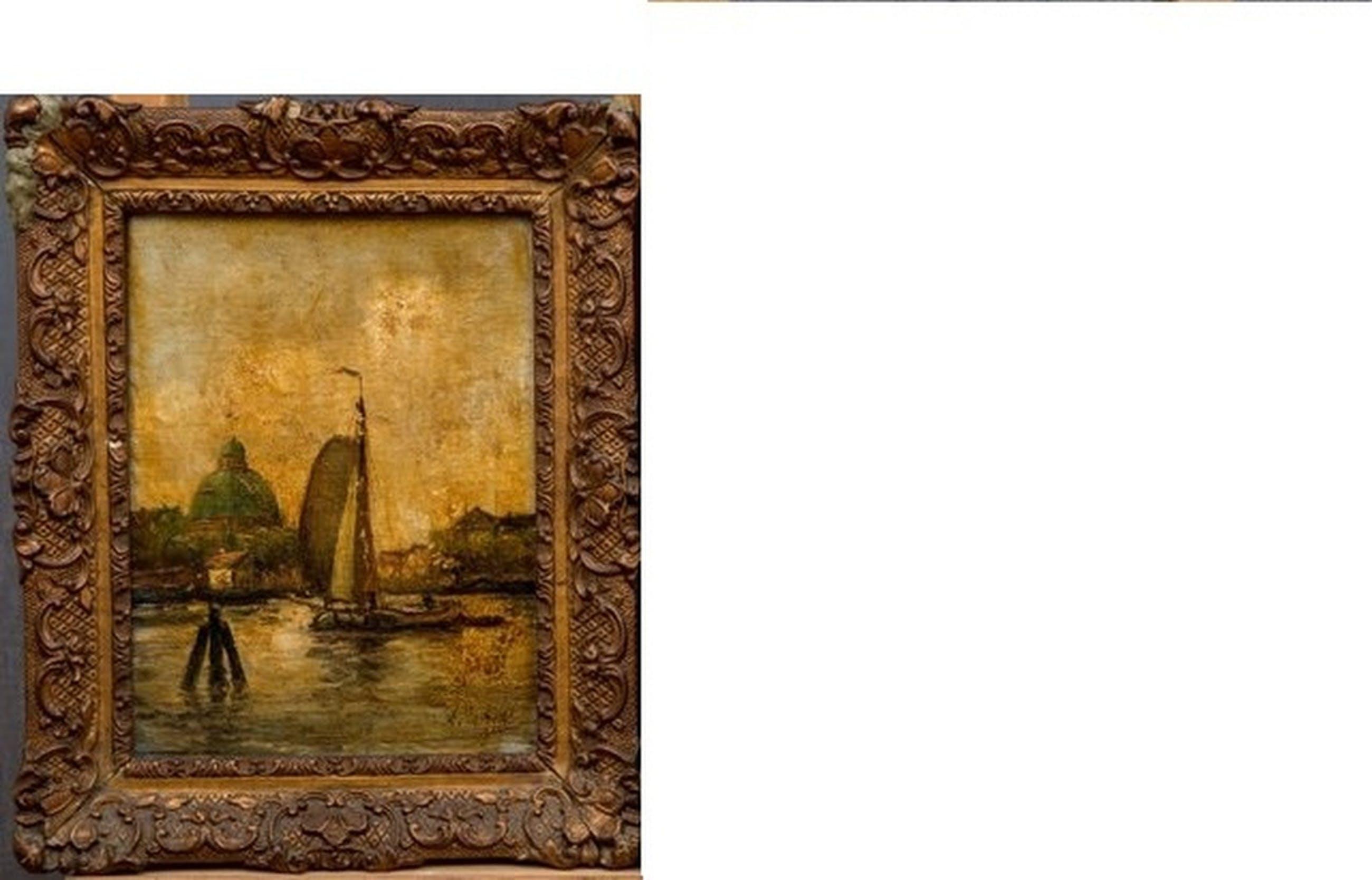 zeilboot met koepelkerk op achtergrond, Olieverf op doek kopen? Bied vanaf 55!