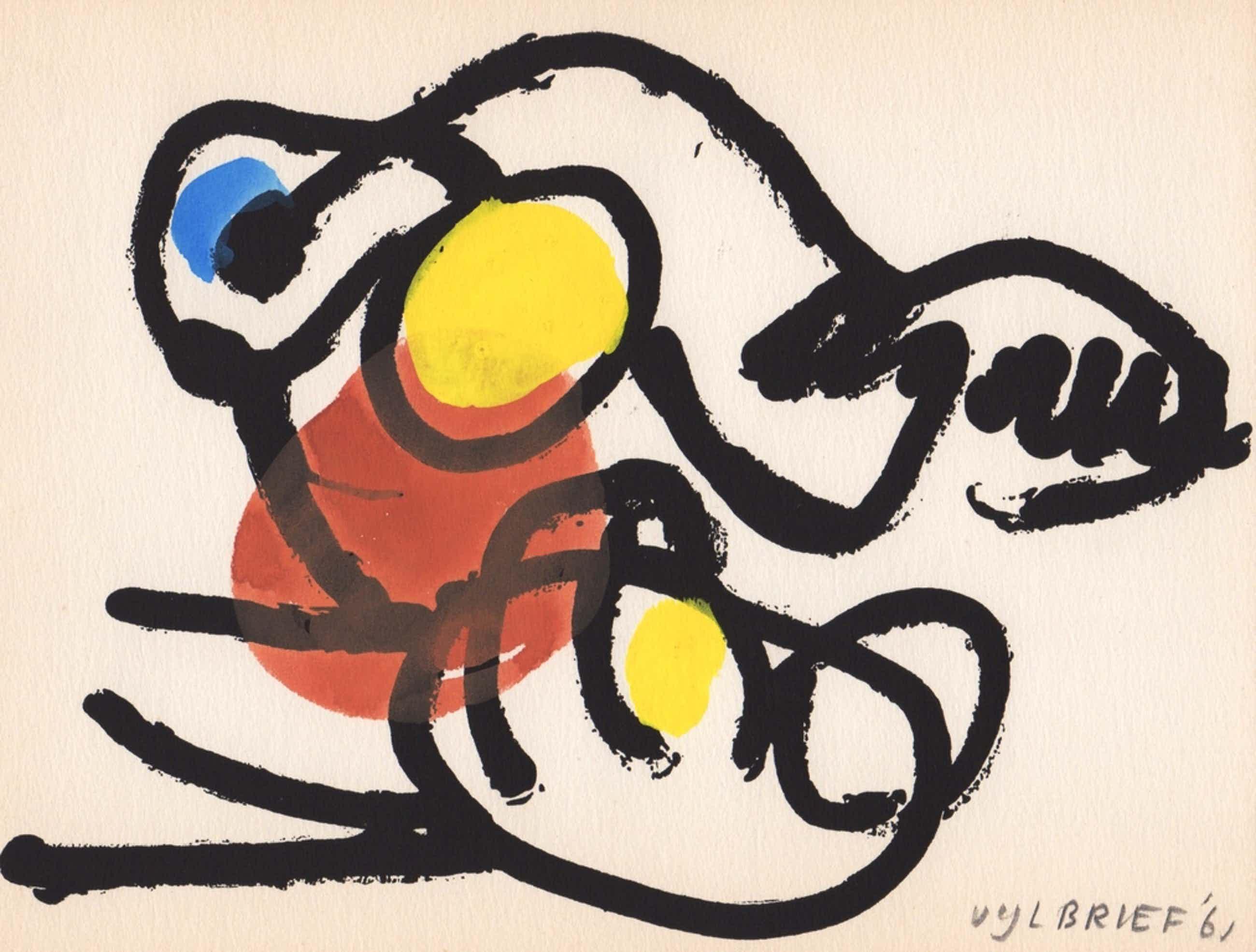 Ernst Vijlbrief, gemengde techniek, 1961, 'Spel en Nederlaag' kopen? Bied vanaf 69!