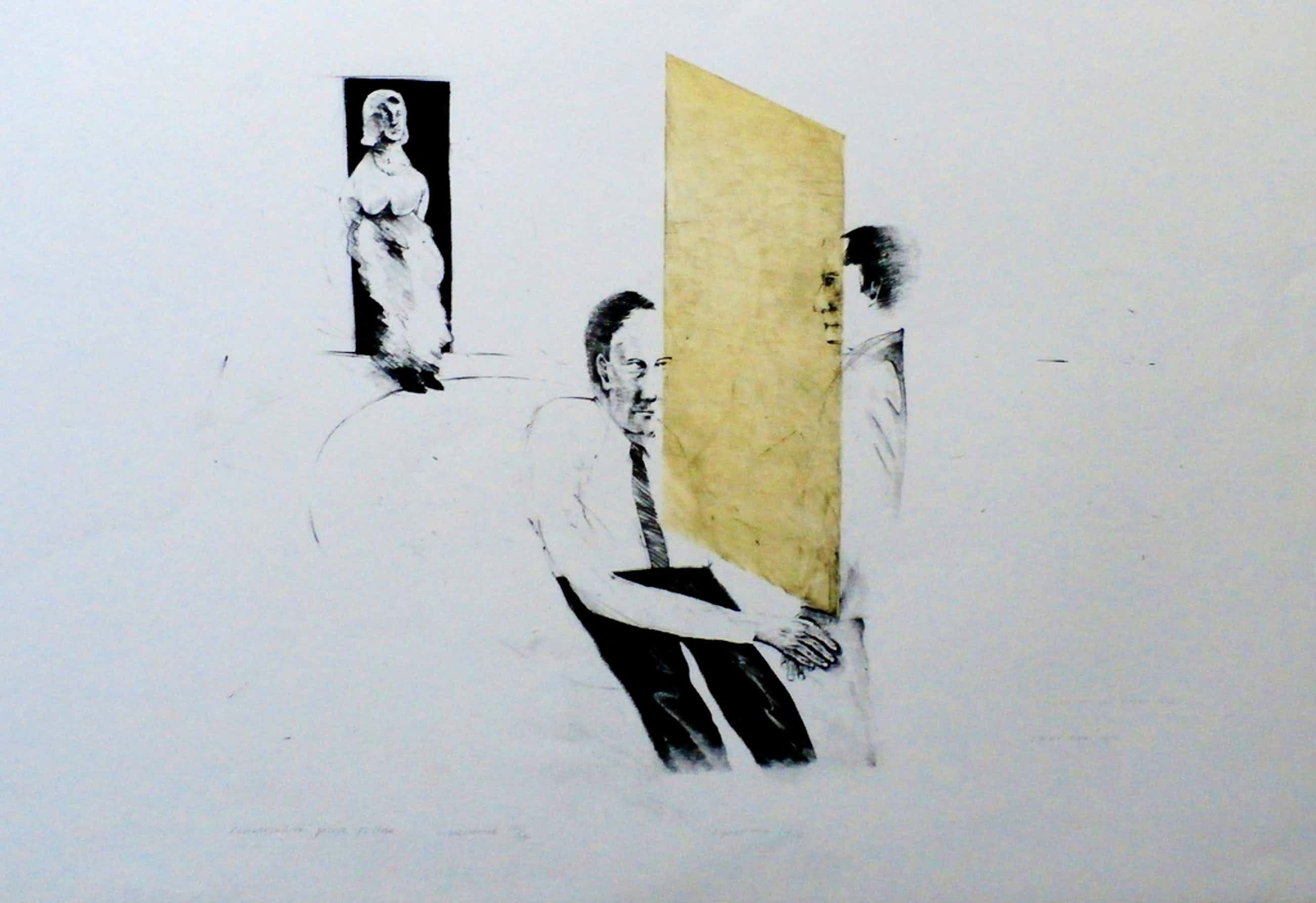 Kees Spermon - litho: Conversation piece Yellow - 1973 kopen? Bied vanaf 45!