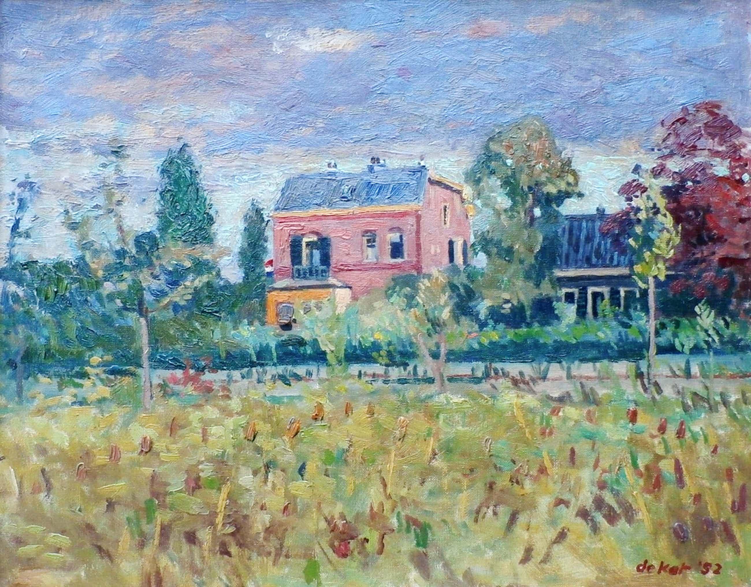 Otto B de Kat - Olieverf op doek: het rode huis kopen? Bied vanaf 695!