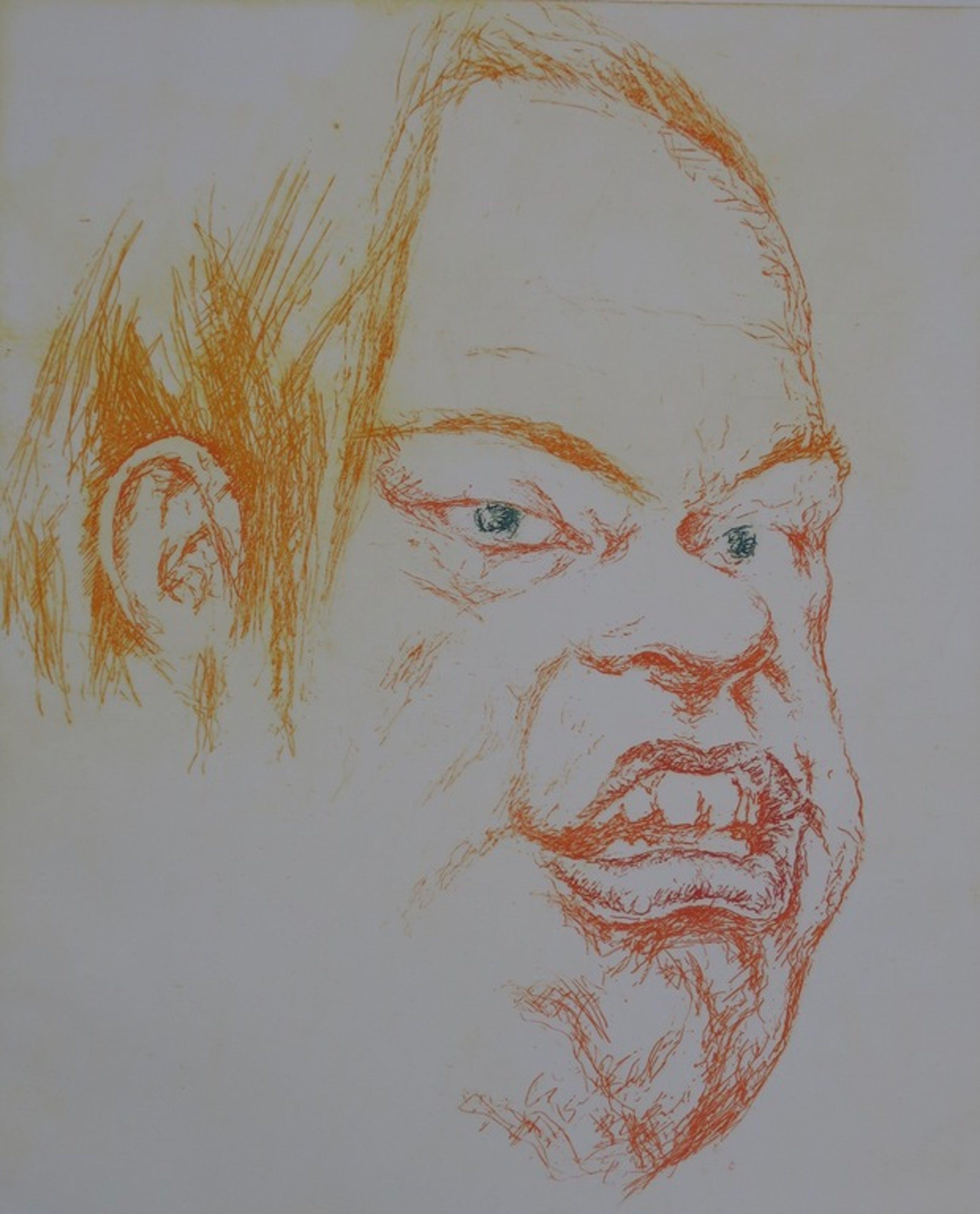 Herman Gordijn: Droge naald, Portret van man met groene ogen kopen? Bied vanaf 30!