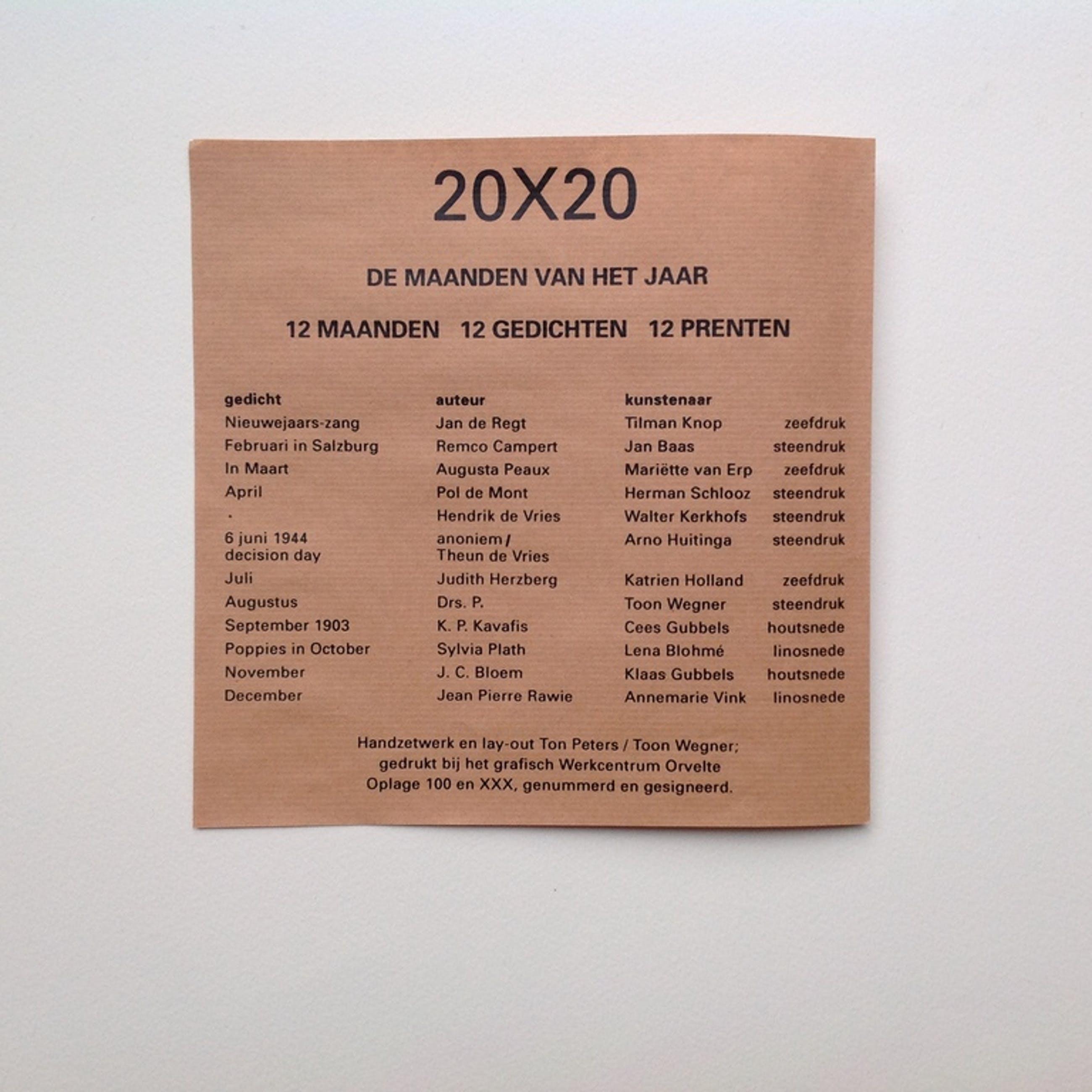 Walter Kerkhofs Kleine Litho 20 X 20 Cm 1992 Samen Met