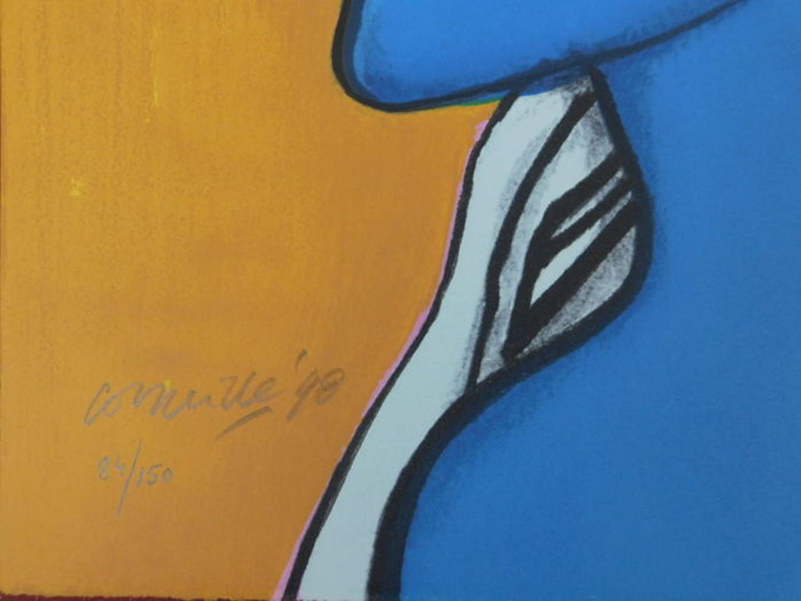 Guillaume Corneille - kleurenlitho - Femme Bleu: Jaune  kopen? Bied vanaf 185!