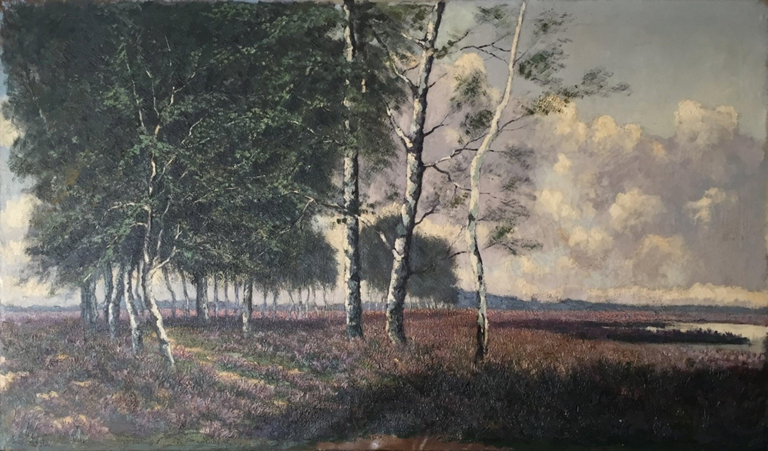 Arie van der Boon - Olieverf op doek - Heide landschap kopen? Bied vanaf 750!
