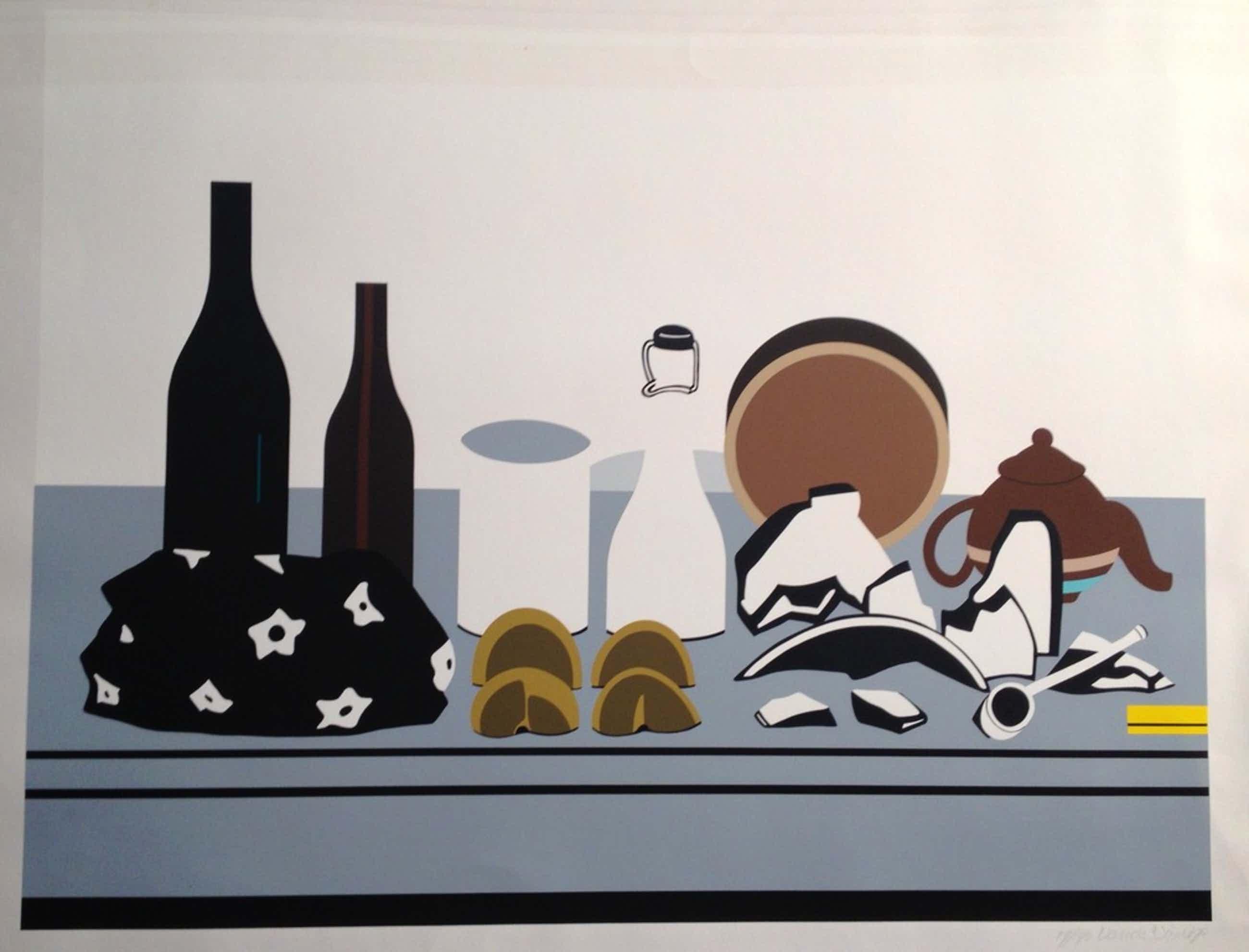 """Rudi van de Wint, zeefdruk, """"Verstoring van de driehoek compositie"""", 1973 kopen? Bied vanaf 39!"""