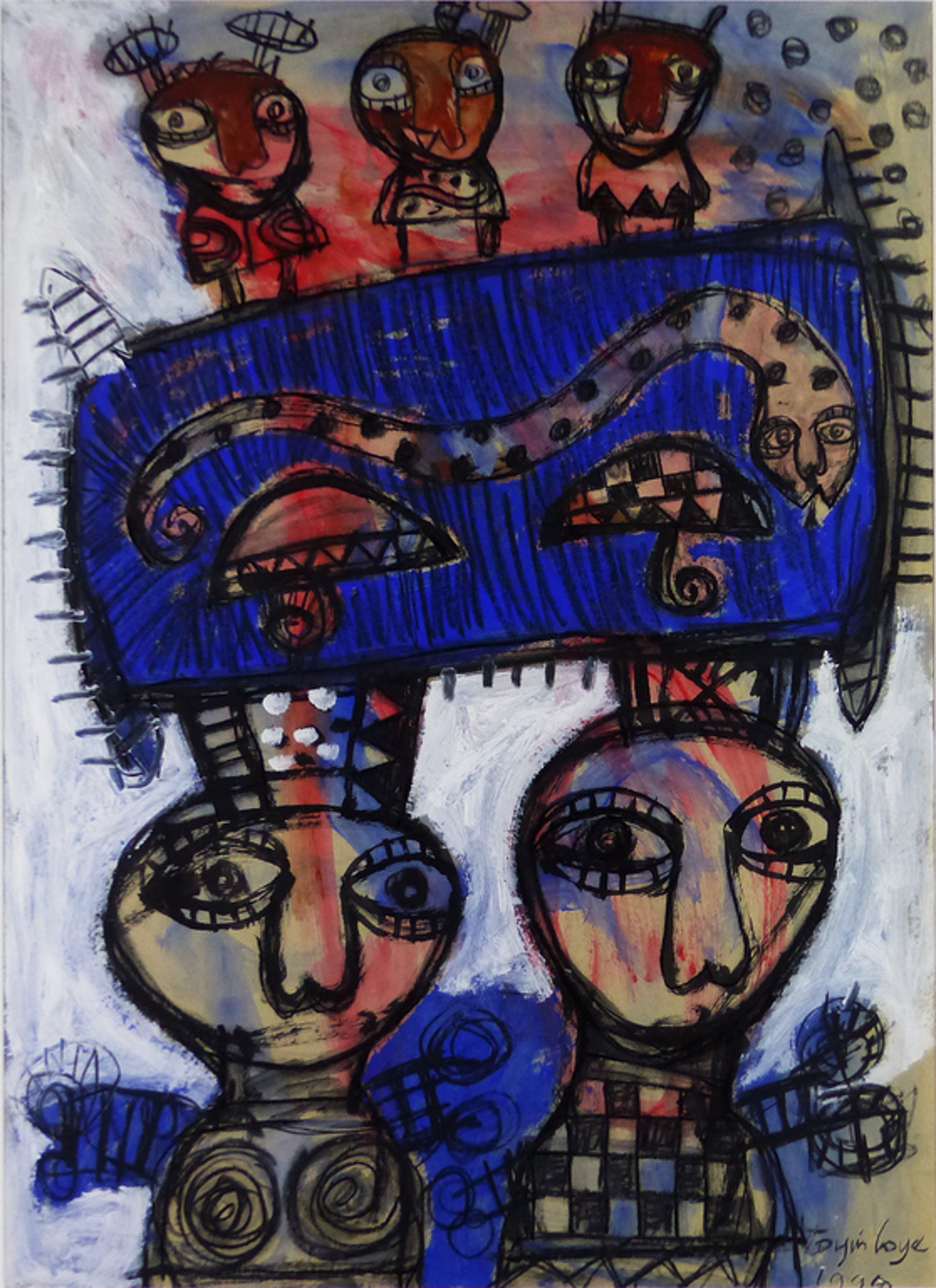 TOYIN  LOYE   LARGE SCALE  PAINTING  NIGERIA  AFRRICAN ART 1999 kopen? Bied vanaf 1!