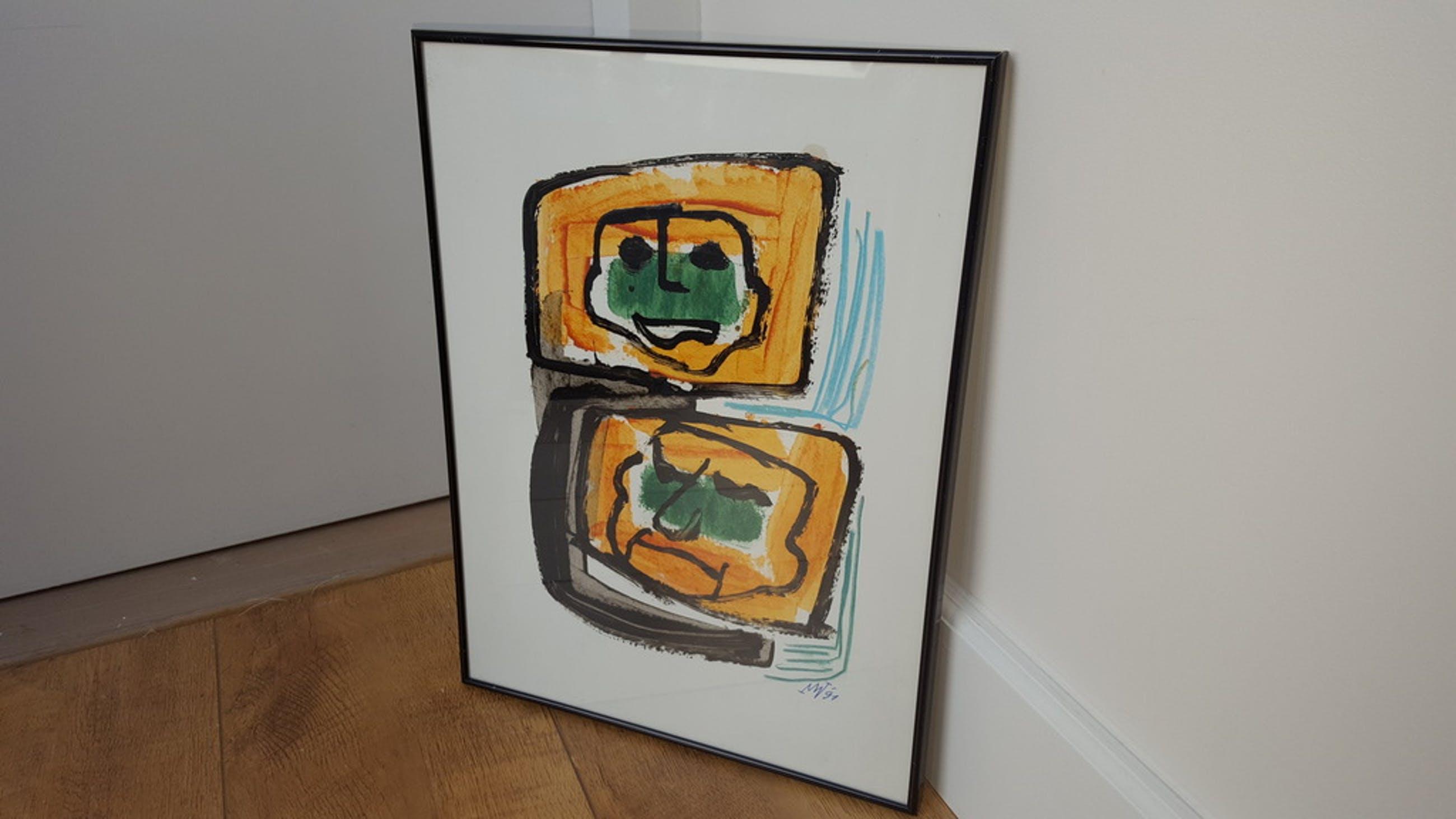 Martin van Wordrager - Pendant - Acryl op papier, gesign. en '91  kopen? Bied vanaf 225!