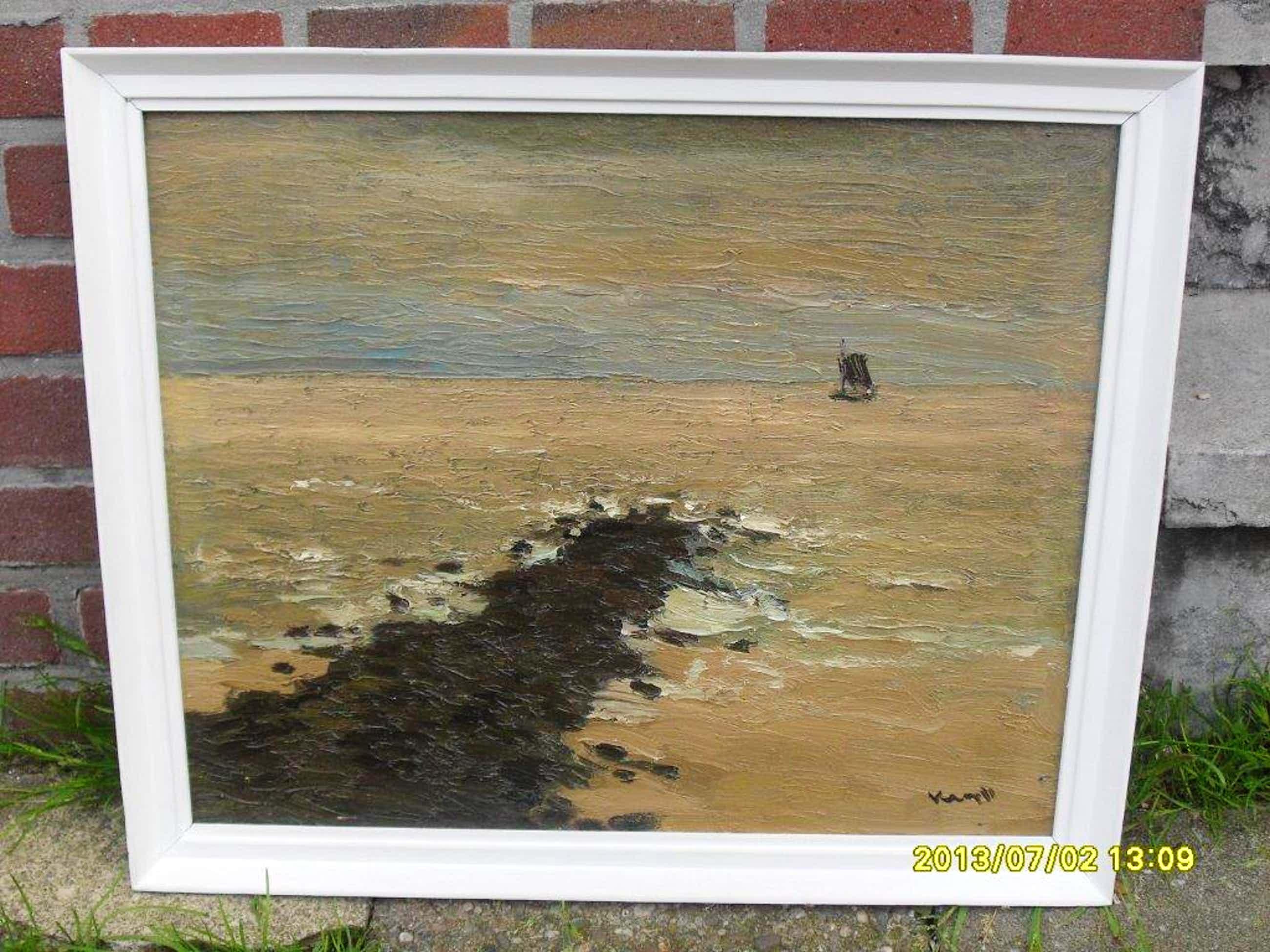 """Joop Kropff, olieverf op board, """"Zeegezicht nabij Scheveningen"""" kopen? Bied vanaf 60!"""