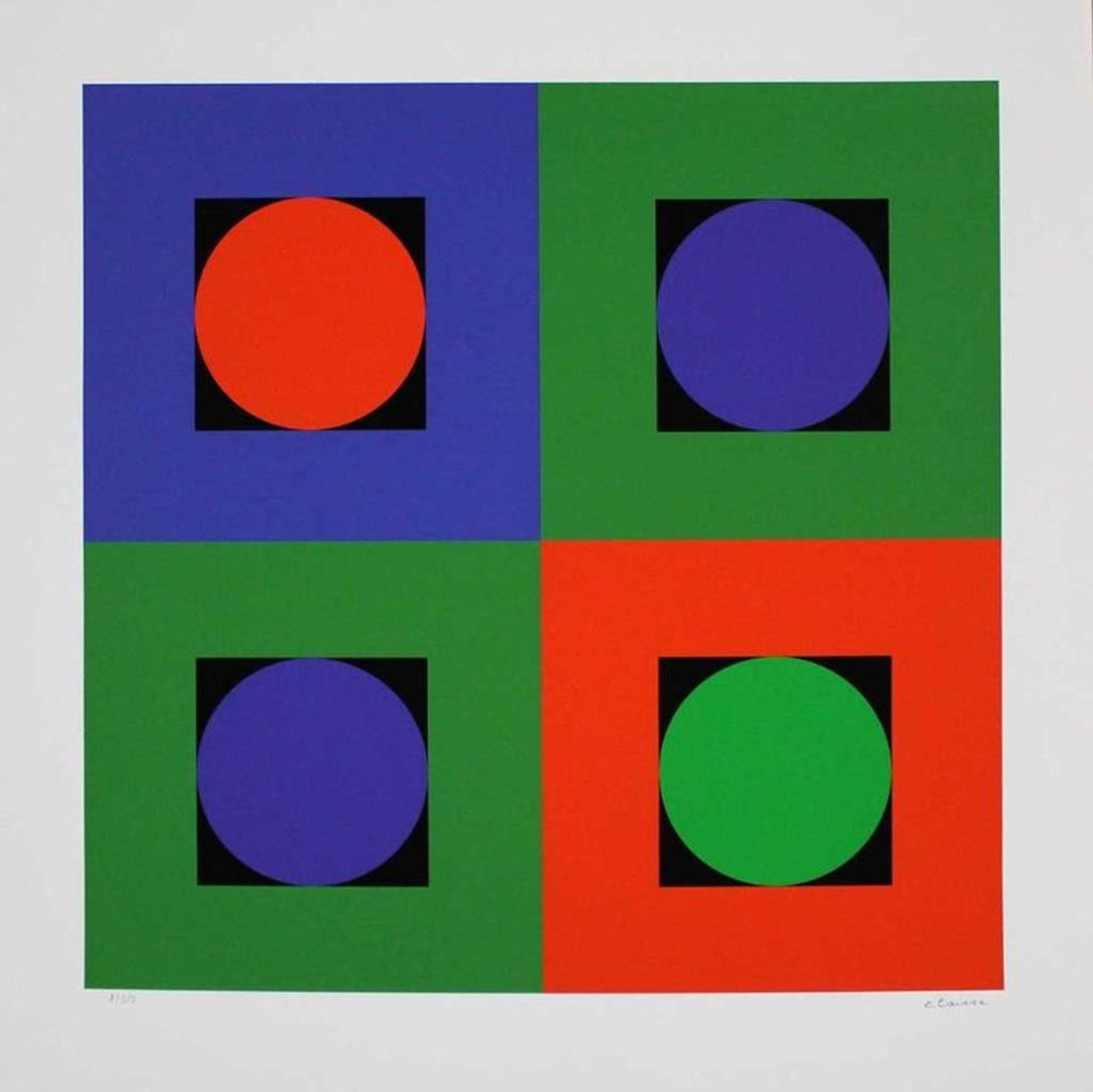 Geneviève Claisse, Composition géométrique rouge/bleu/vert kopen? Bied vanaf 225!