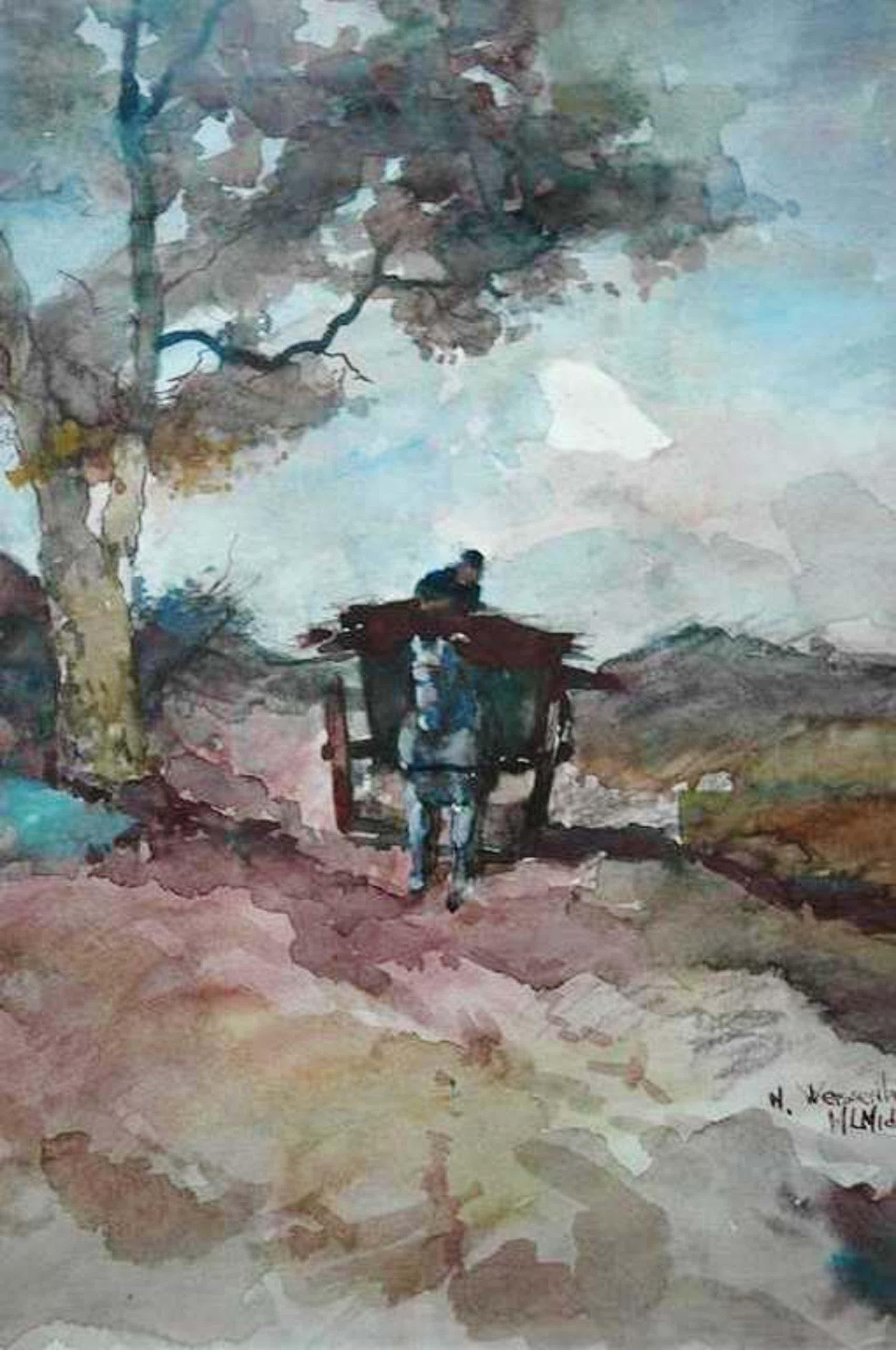 M L Middelhoek, aquarel op papier Paard en wagen in duinen 40 x 50 gesign kopen? Bied vanaf 55!