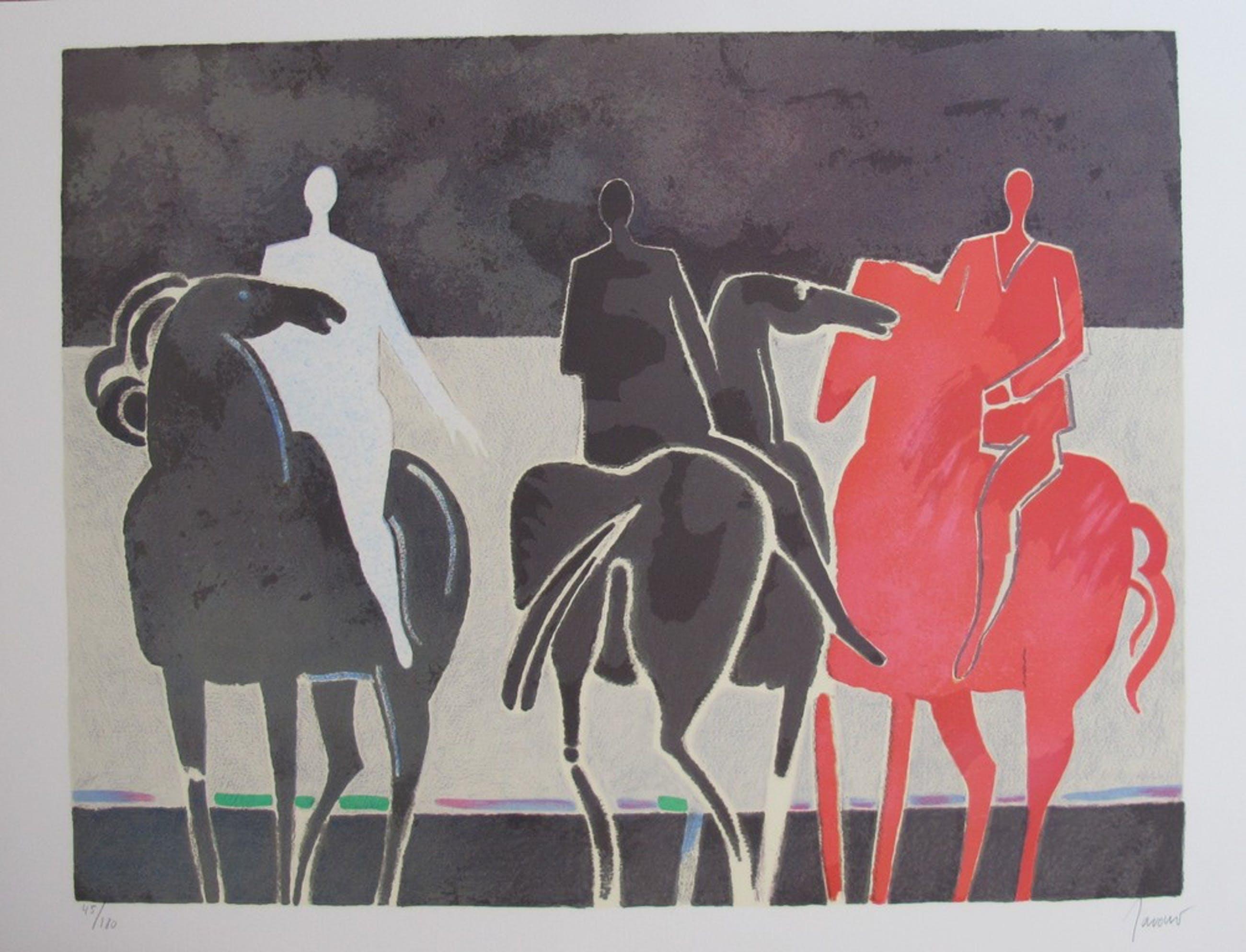 Albert Zavaro -'Les trois cavalier' - kleurenlitho, gesigneerd, oplage 180 kopen? Bied vanaf 49!