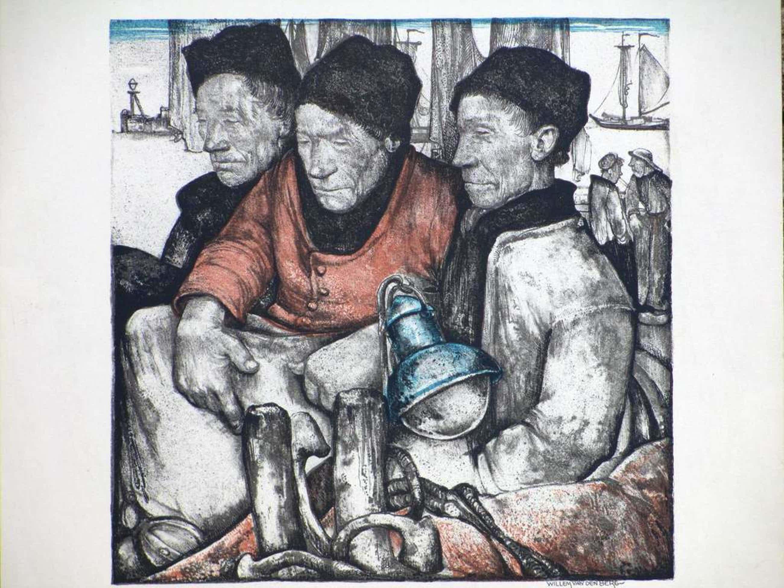 Willem van den Berg, Vissers in klederdracht, Kleurlitho kopen? Bied vanaf 50!