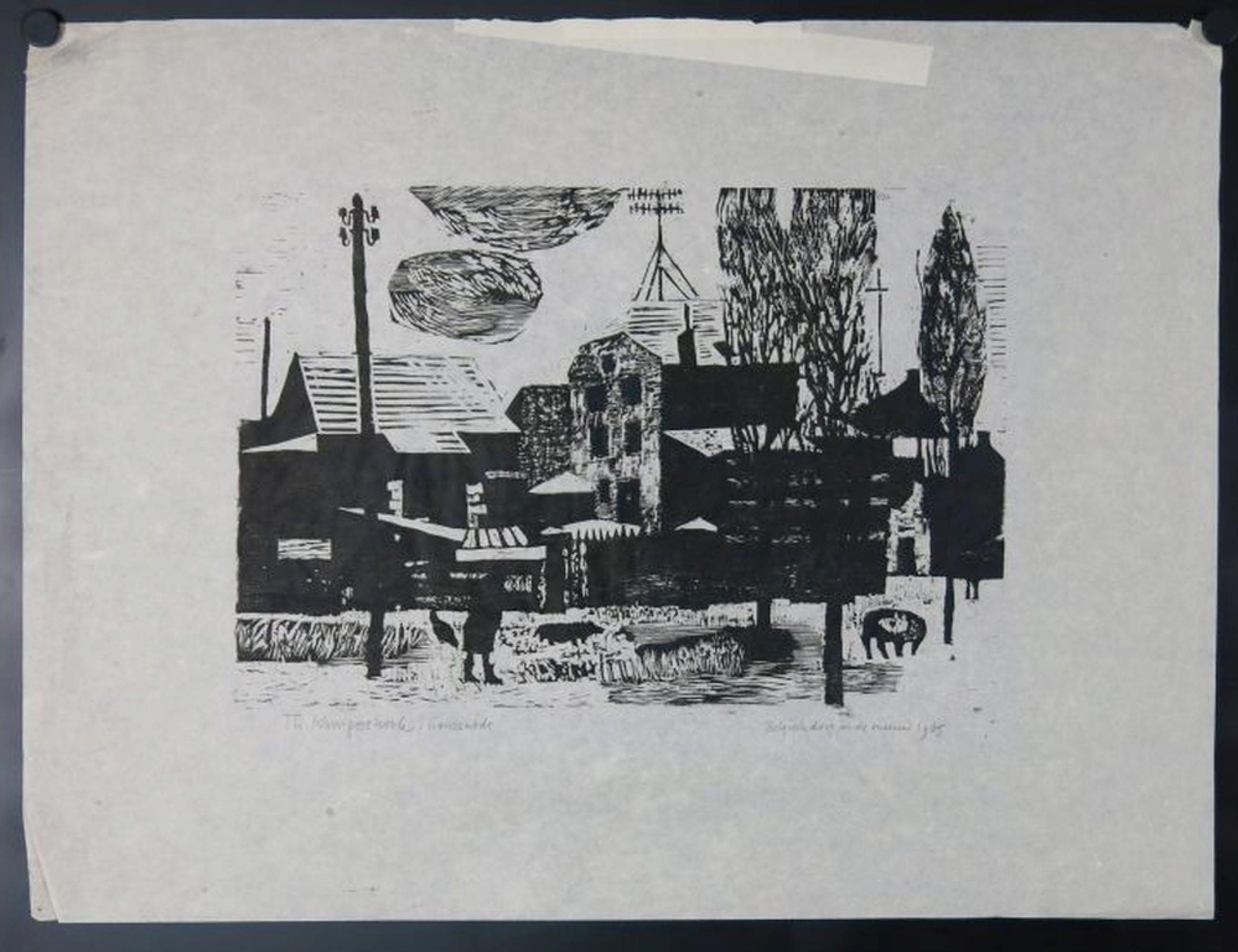 Theo Kurpershoek: Houtsnede, Belgisch Dorp in de Sneeuw kopen? Bied vanaf 1!