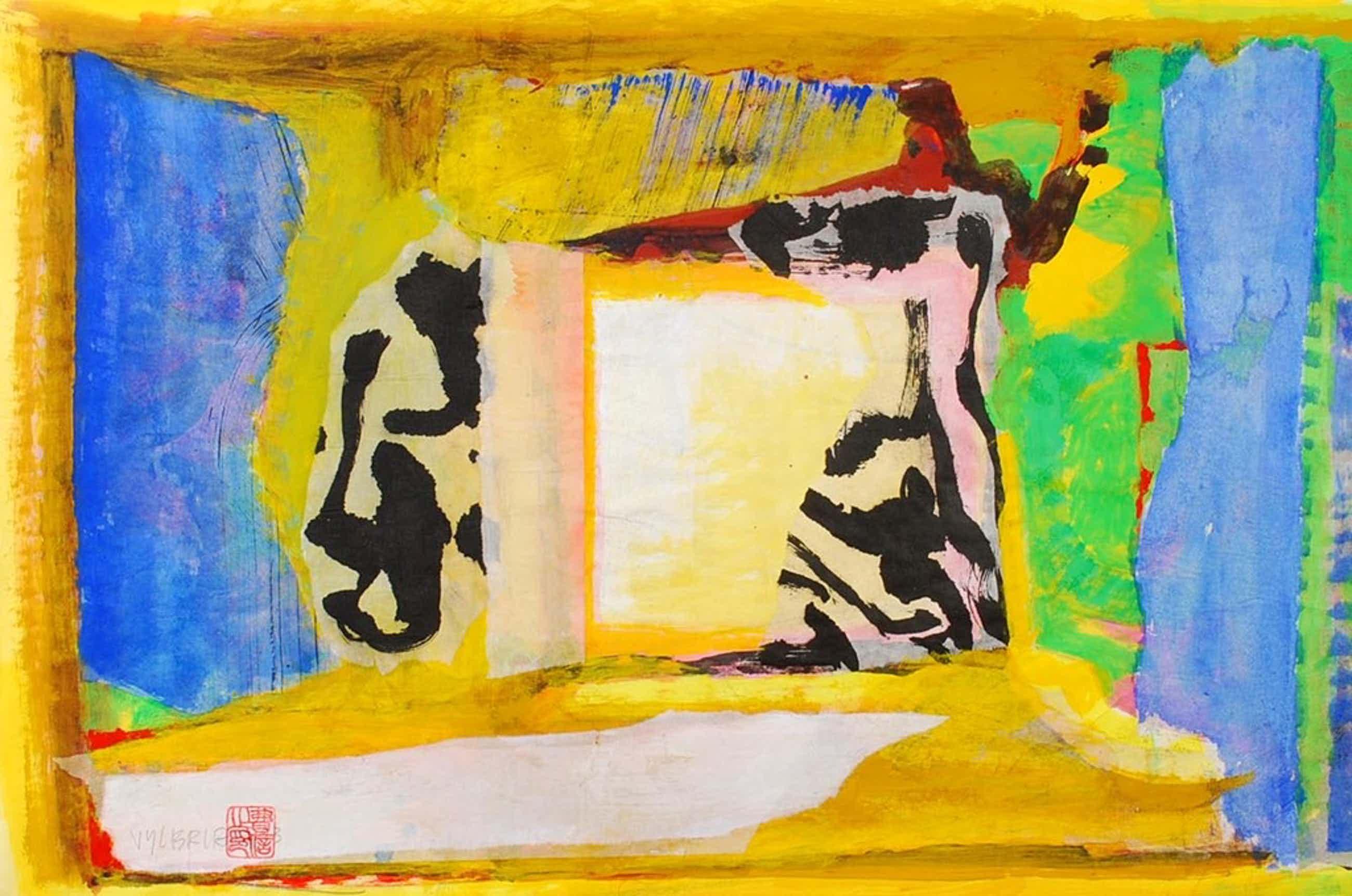 ERNST VIJLBRIEF (1934-2010) collage/gouache op papier kopen? Bied vanaf 75!