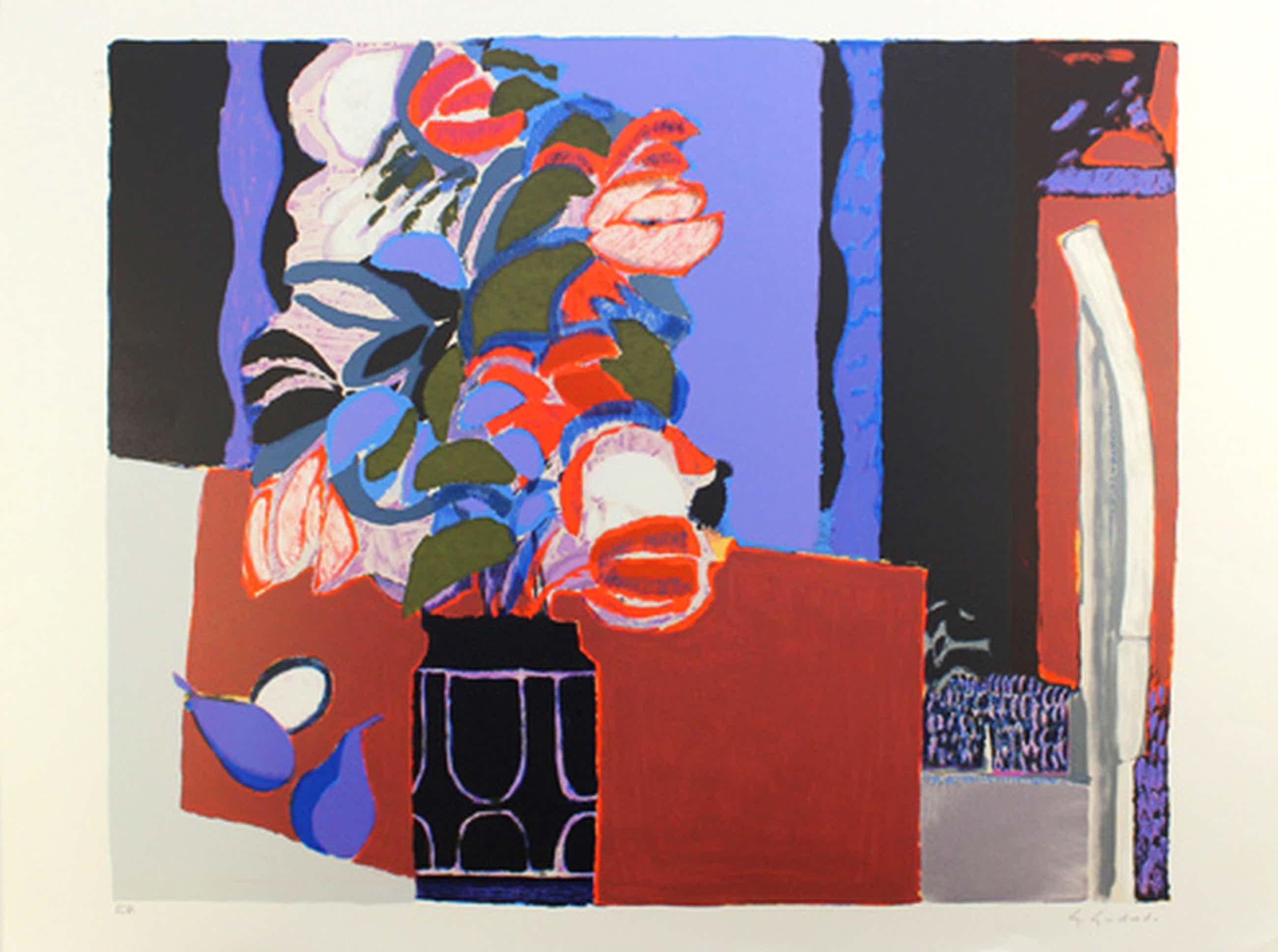 Gabriel Godard - Bloemenvaas - kleurlitho handgesigneerd kopen? Bied vanaf 45!