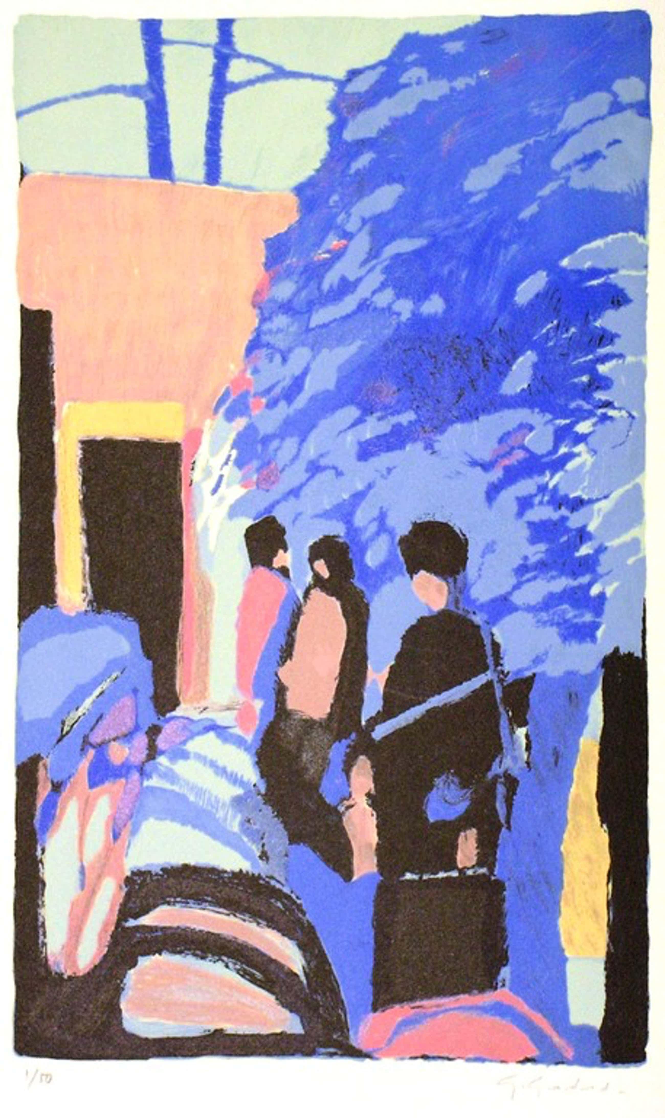 Gabriël Godard: lithografie in kleur, Promenade au jardin, Gesigneerd. kopen? Bied vanaf 50!