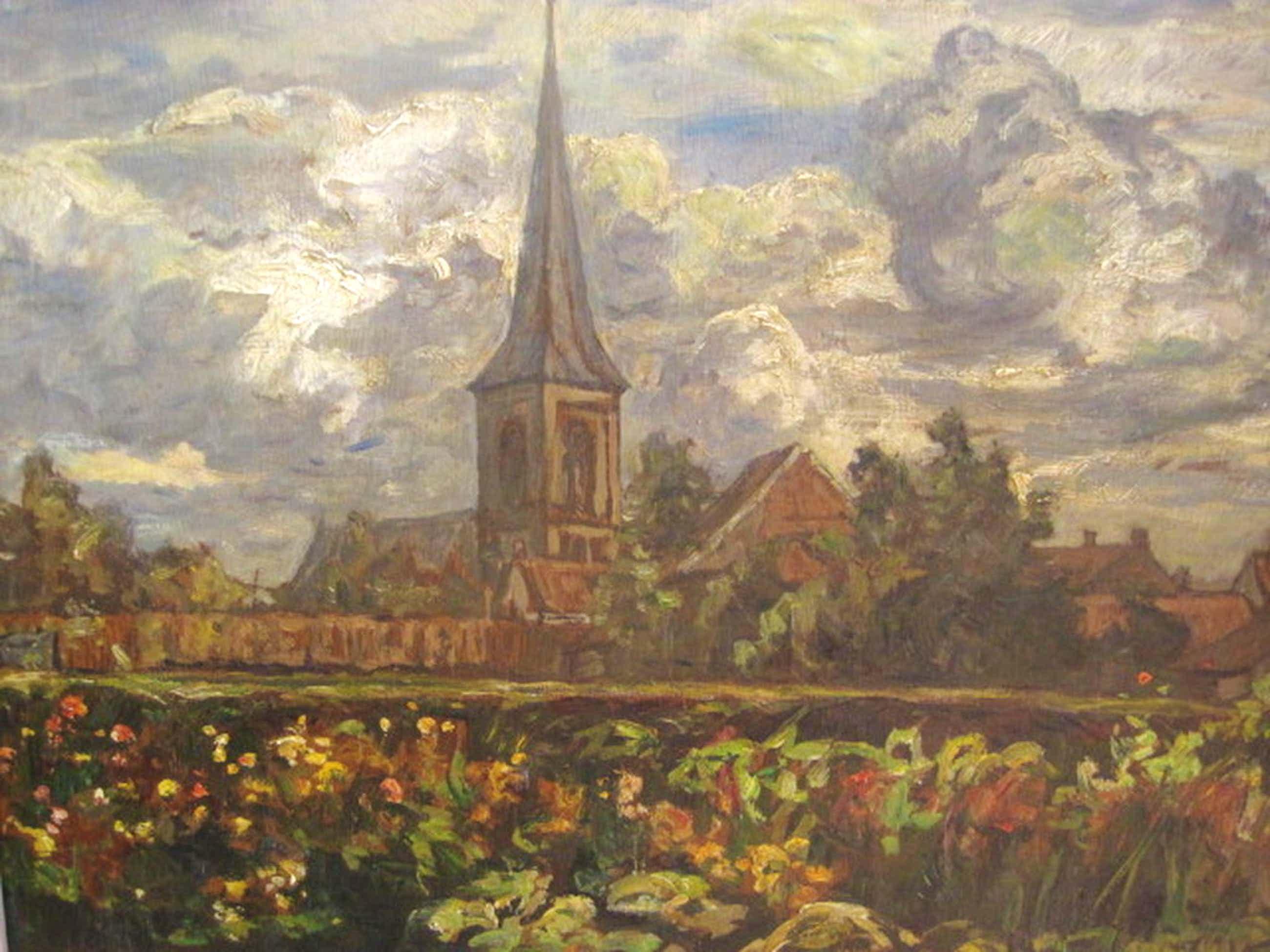 Hendrik v Bloem 1874-1960 gezicht op het dorp Overveen bij Haarlem ca. 1910 kopen? Bied vanaf 130!