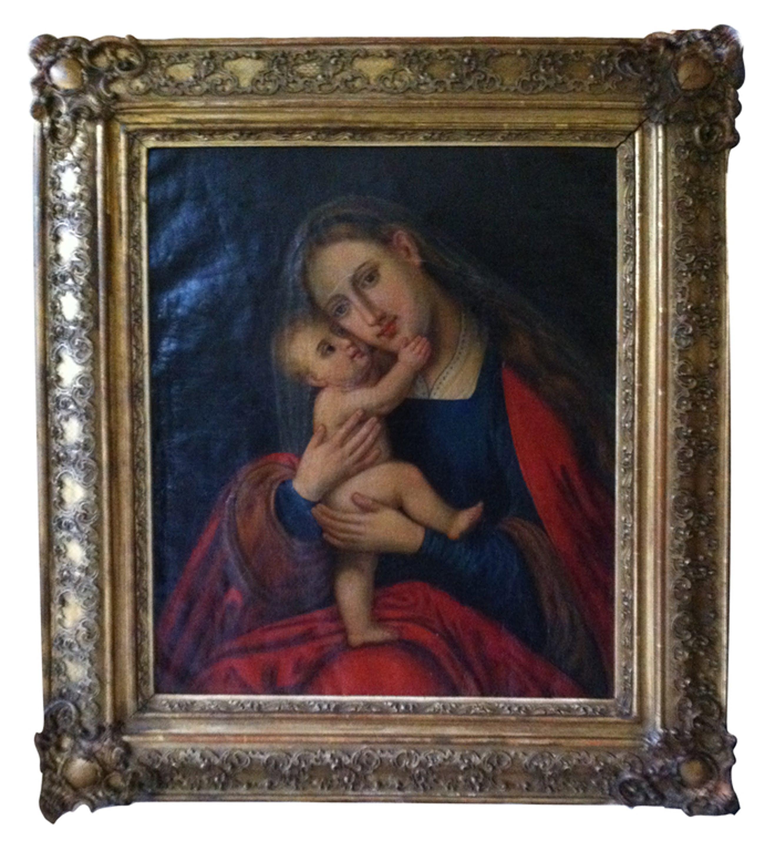 Schilderij (Moeder (Maria) met kind)± 1725 (begin 18e eeuw) Ook de lijst is begi kopen? Bied vanaf 2250!