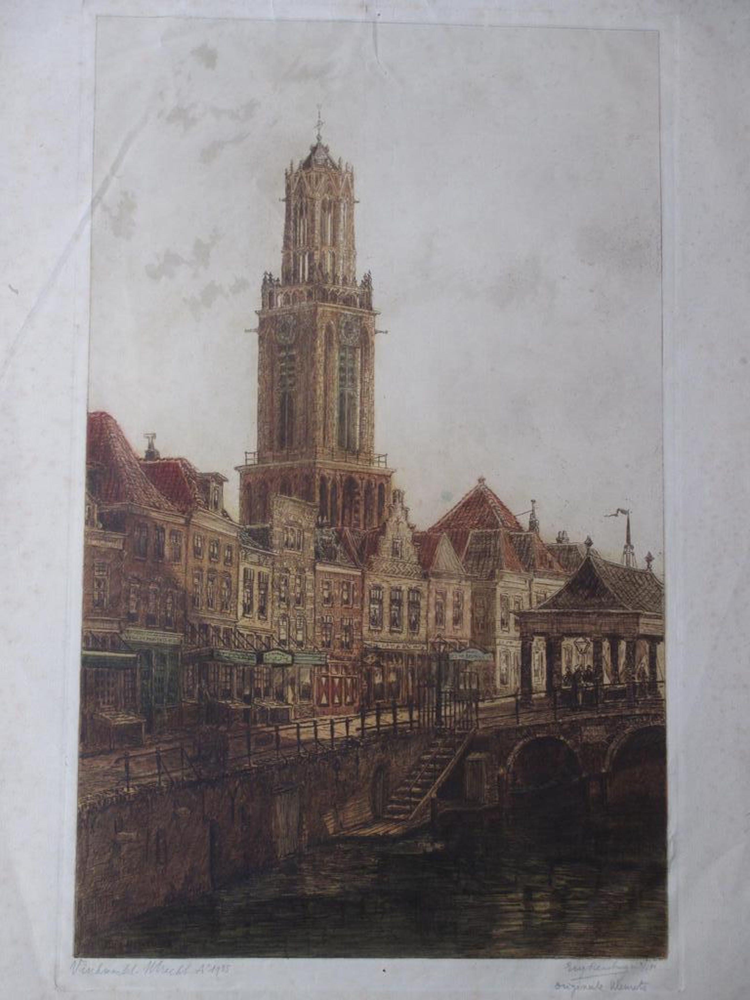 Eugene Rensburg - Vischmarkt Utrecht 1925 - Kleurets kopen? Bied vanaf 35!