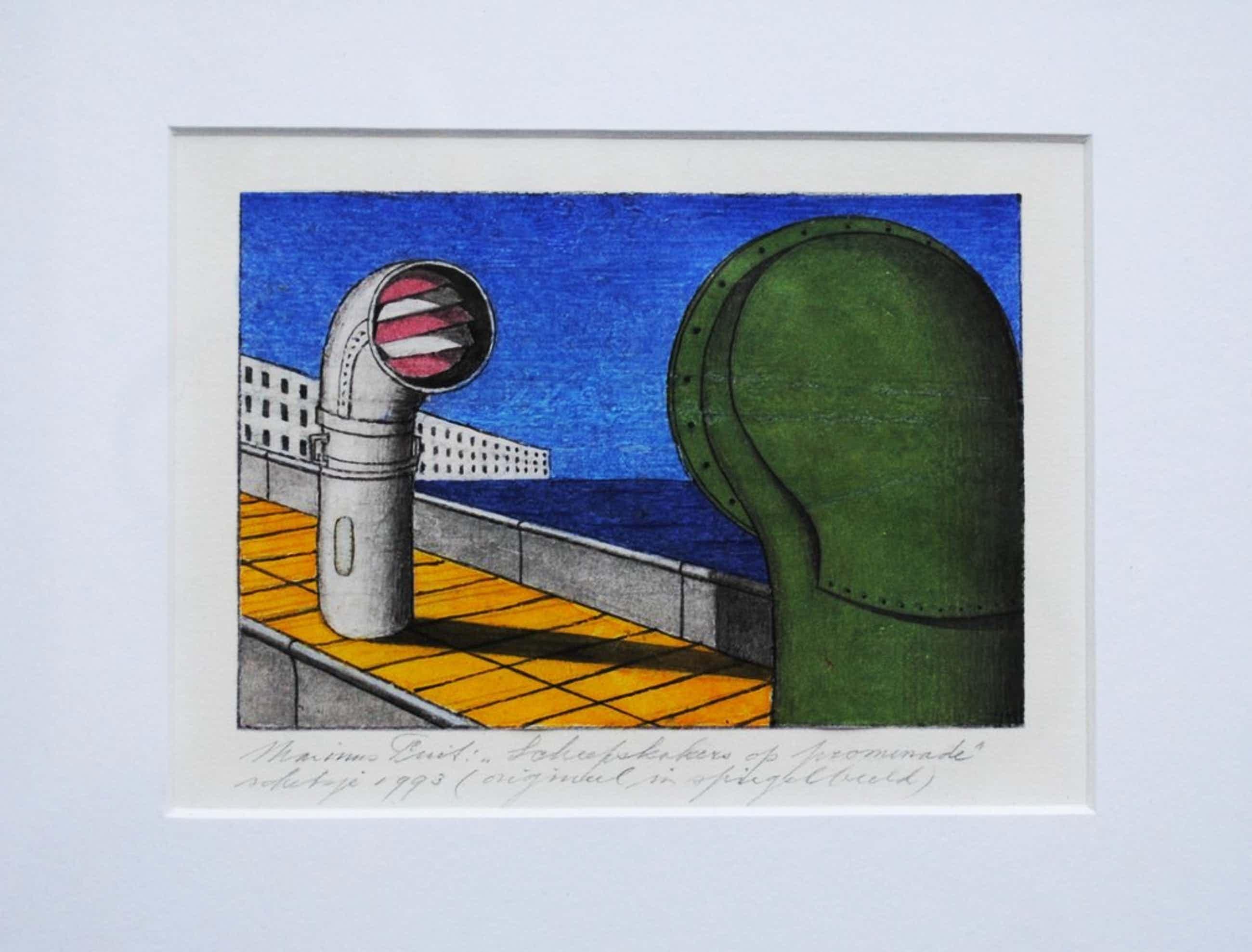 Marinus Fuit-orig. tekening 'Scheepskokers op promenade'-1993-ingelijst+boek kopen? Bied vanaf 125!