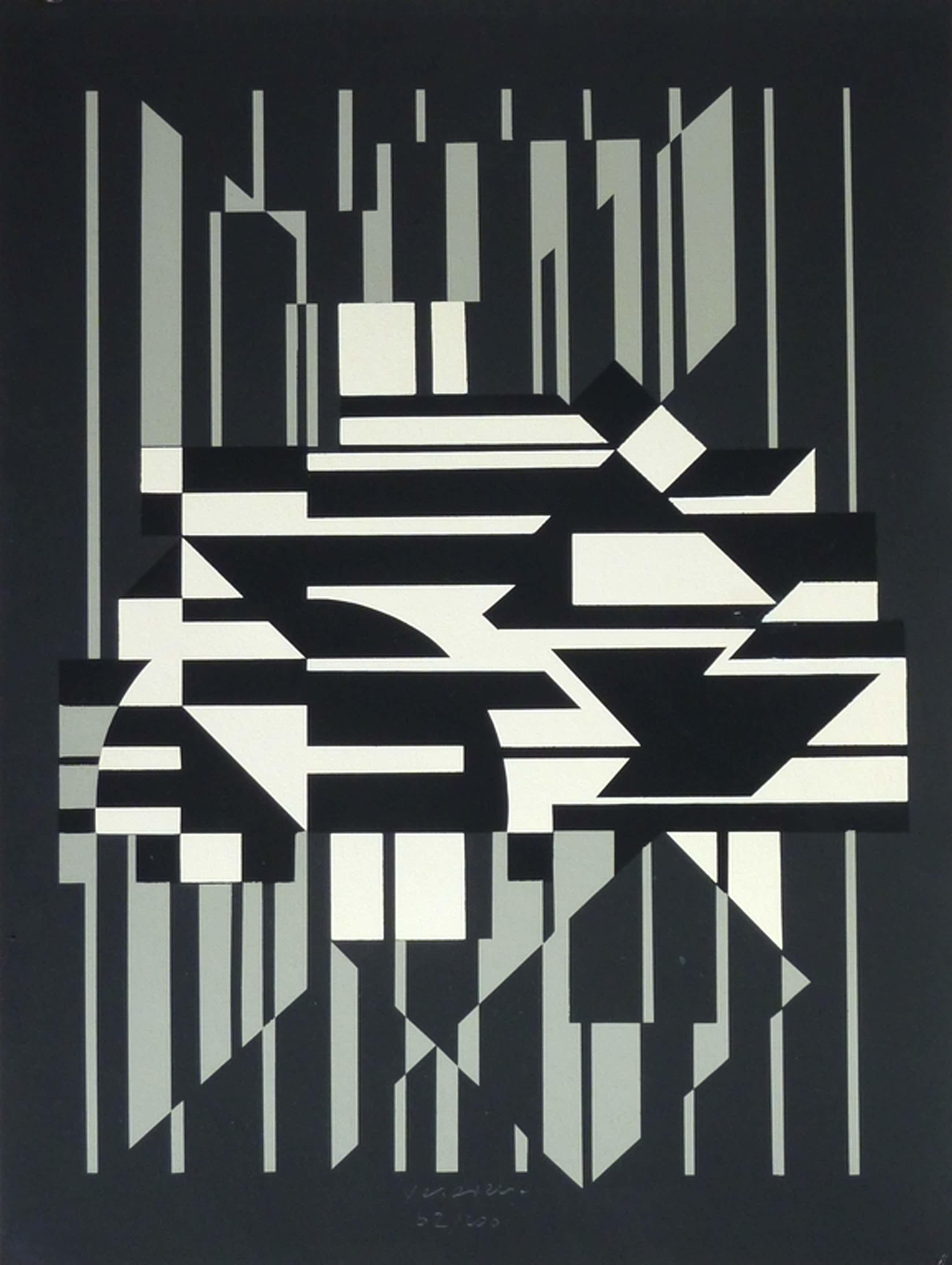 Victor Vasarely - zeefdruk - 'Horn' - 1956 kopen? Bied vanaf 290!