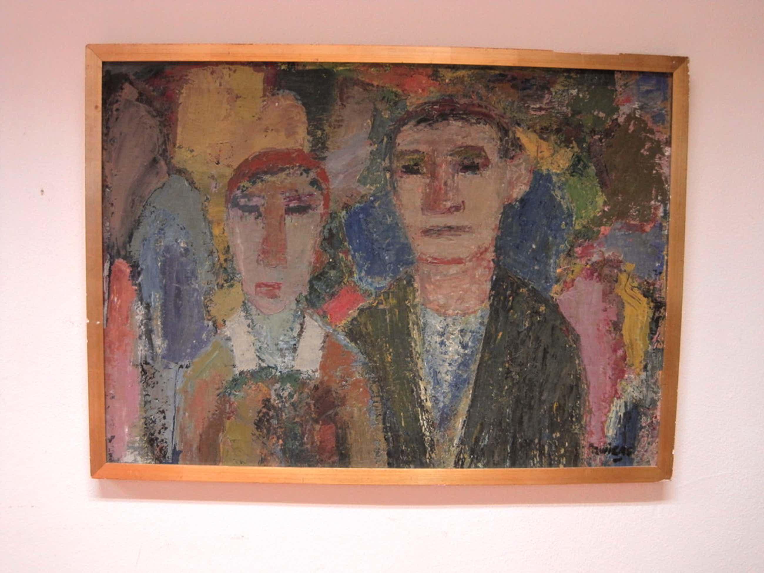 """Piet Zwiers 1907-1965 olieverf """"Giethoornse man en vrouw"""" ca. 1950  kopen? Bied vanaf 251!"""
