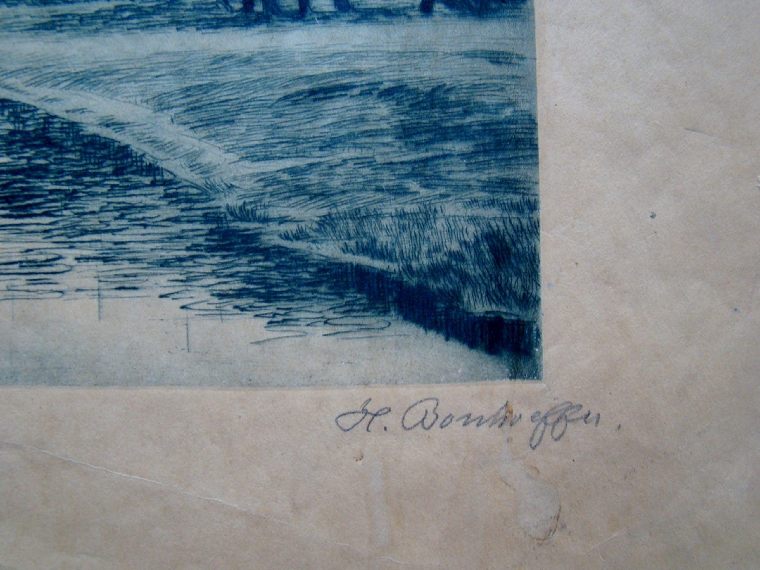 Oude Duitse ets - Aan de Weser - gesigneerd kopen? Bied vanaf 1!