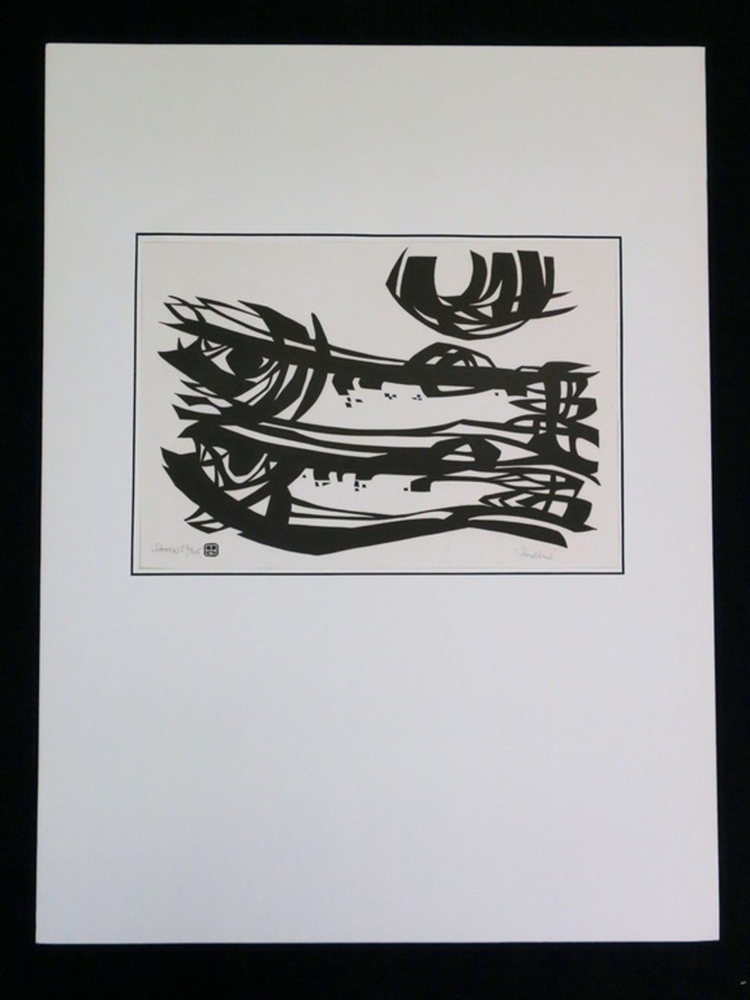 Jan van Doorn: Lino op Japans papier, Forellen kopen? Bied vanaf 1!
