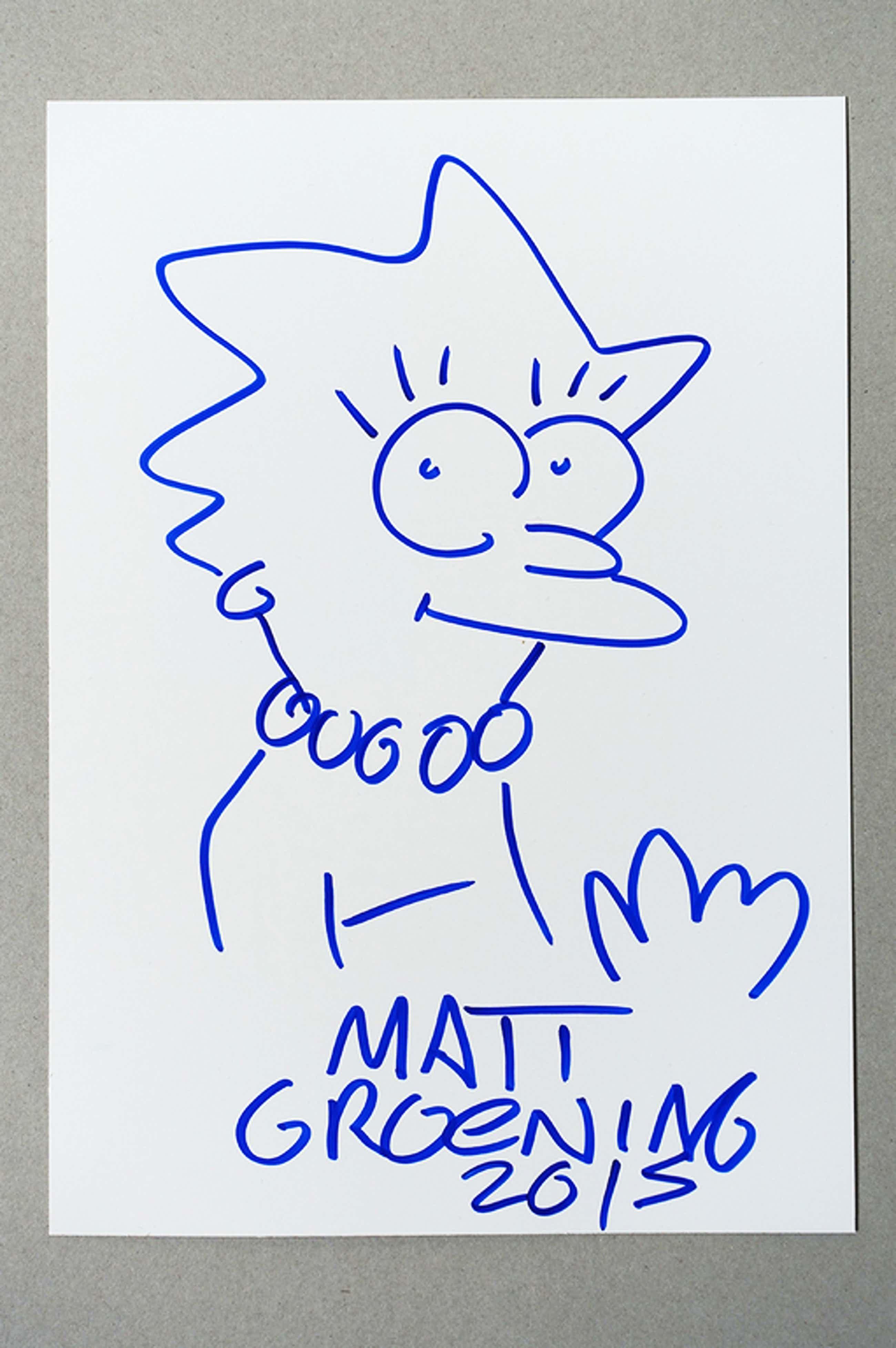 MATT GROENING, blauwe marker viltstift, LISA SIMPSON, 2015 kopen? Bied vanaf 55!