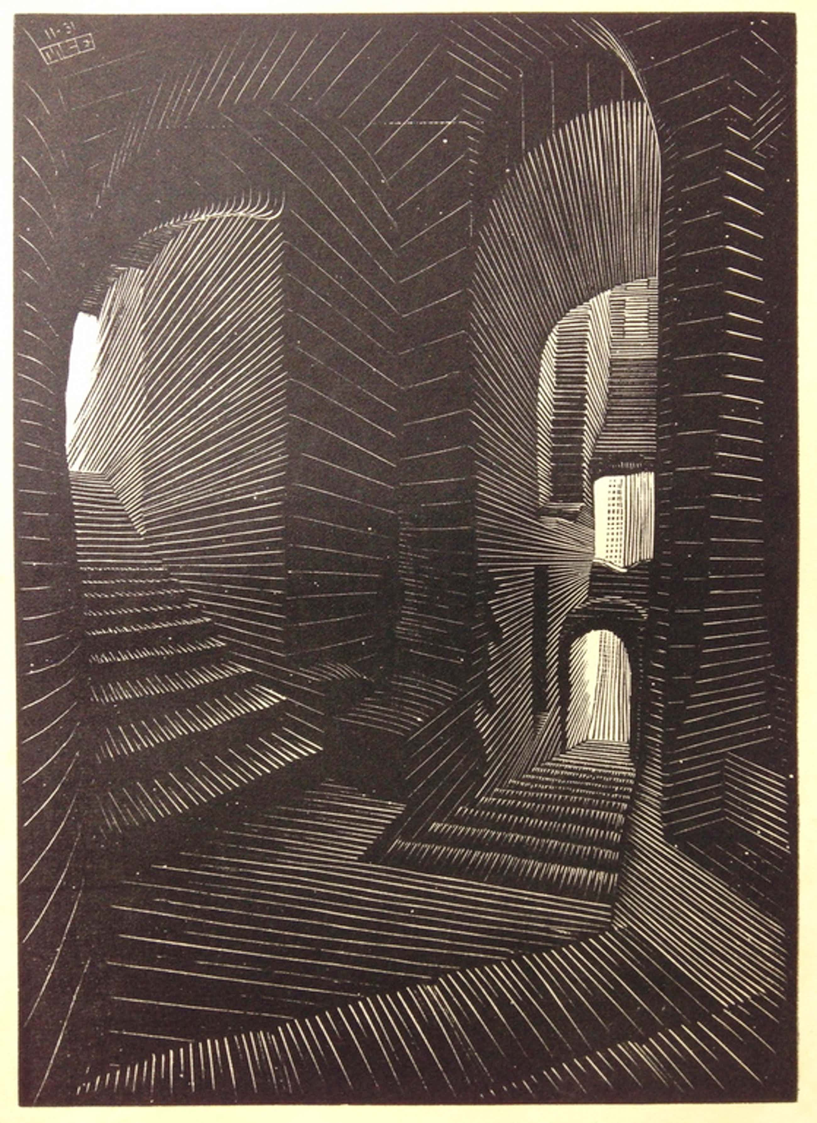 MC. Escher, Originele houtgravure uit 1931, gemonogrammeerd kopen? Bied vanaf 1400!