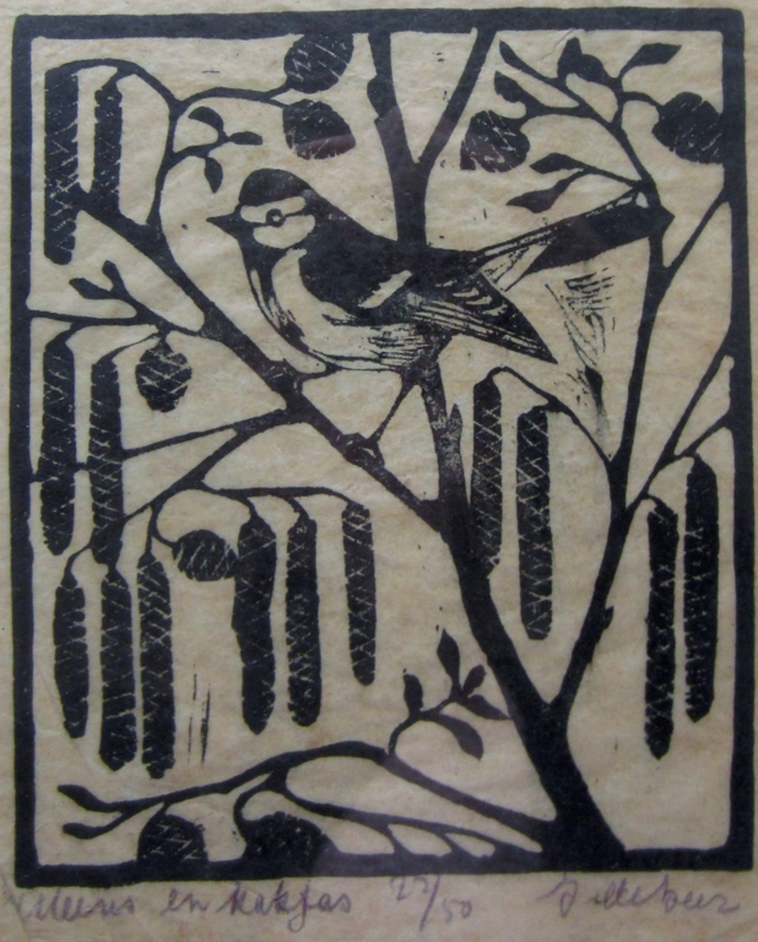 Jac. de Beer (1888-1946) - Houtsnede Mees en katjes - oplage 50 kopen? Bied vanaf 30!