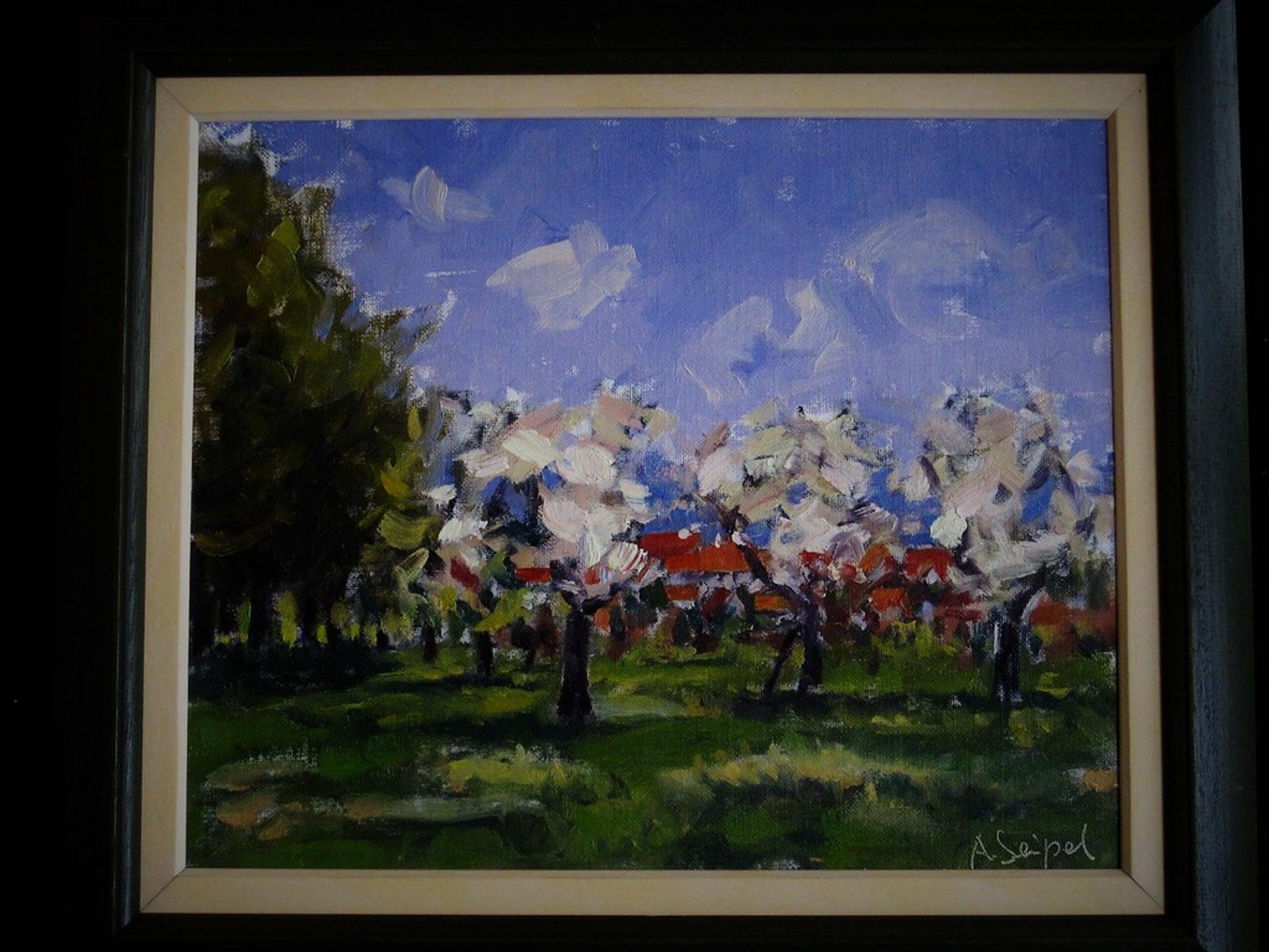 """Fraai impression 1950 Hongaars? gesigneerd olieverf """"landschap met bloesembomen"""" kopen? Bied vanaf 1!"""