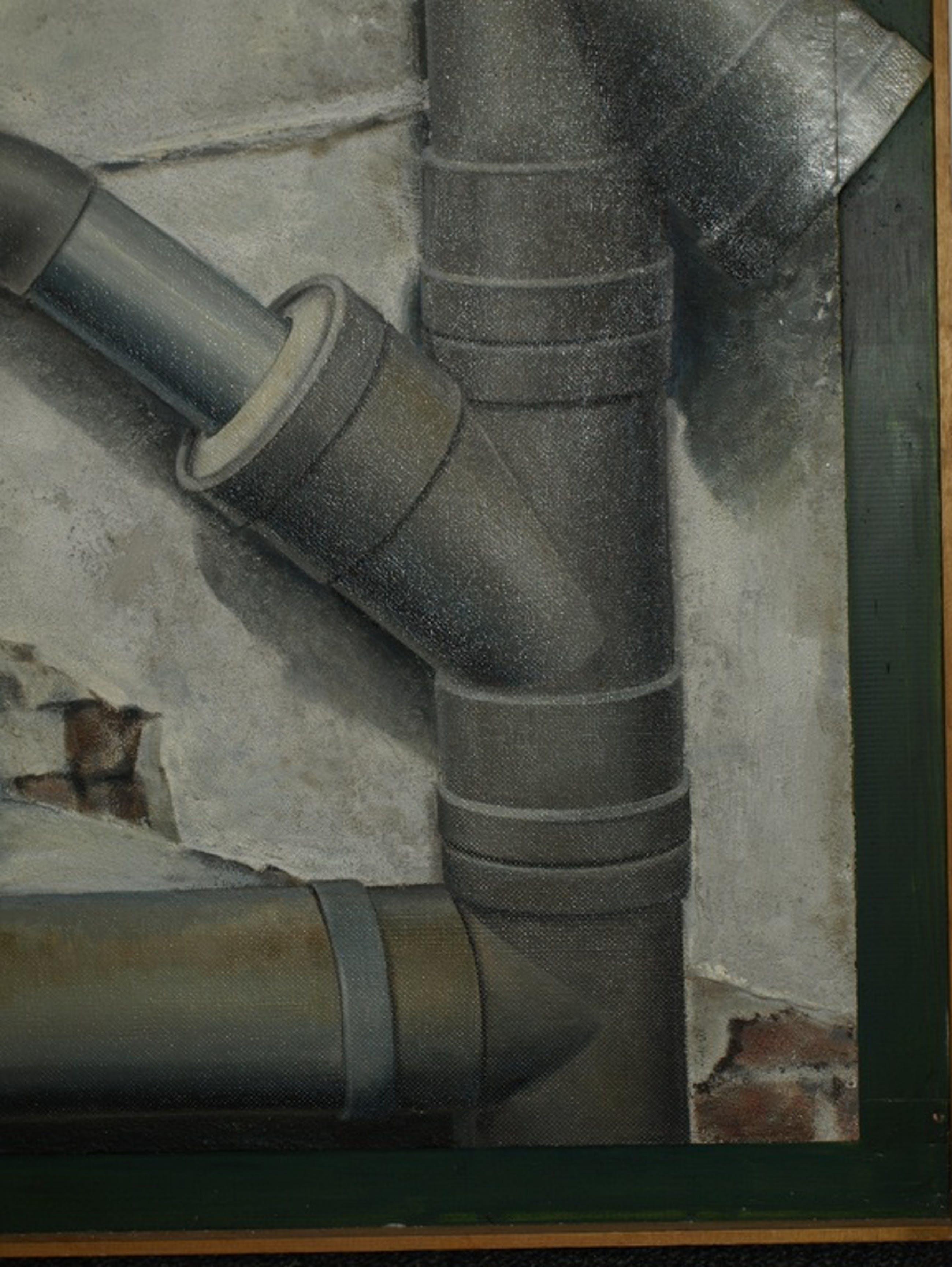 A.H. Wortel of A.H.W. Ortel–Trompe l'oeil–Rioolbuis–Gesigneerd & ingelijst-Gróót kopen? Bied vanaf 1!