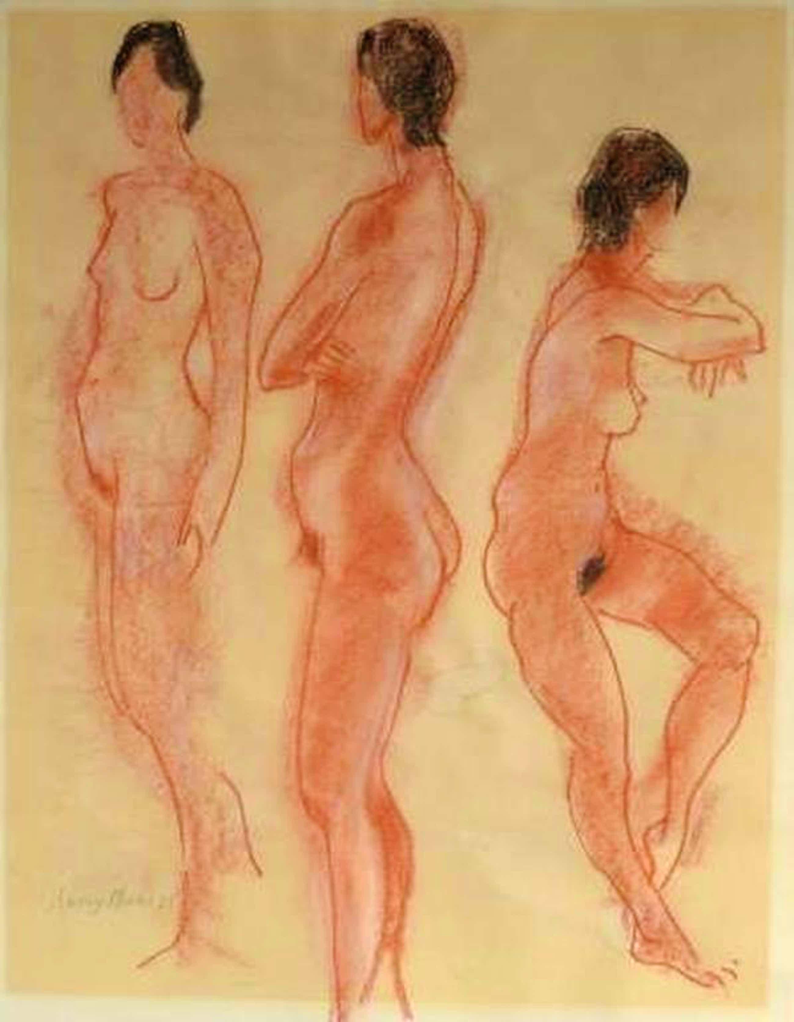 Harry Maas, 3 naakten - pastel, 1975  70 x 80  kopen? Bied vanaf 120!