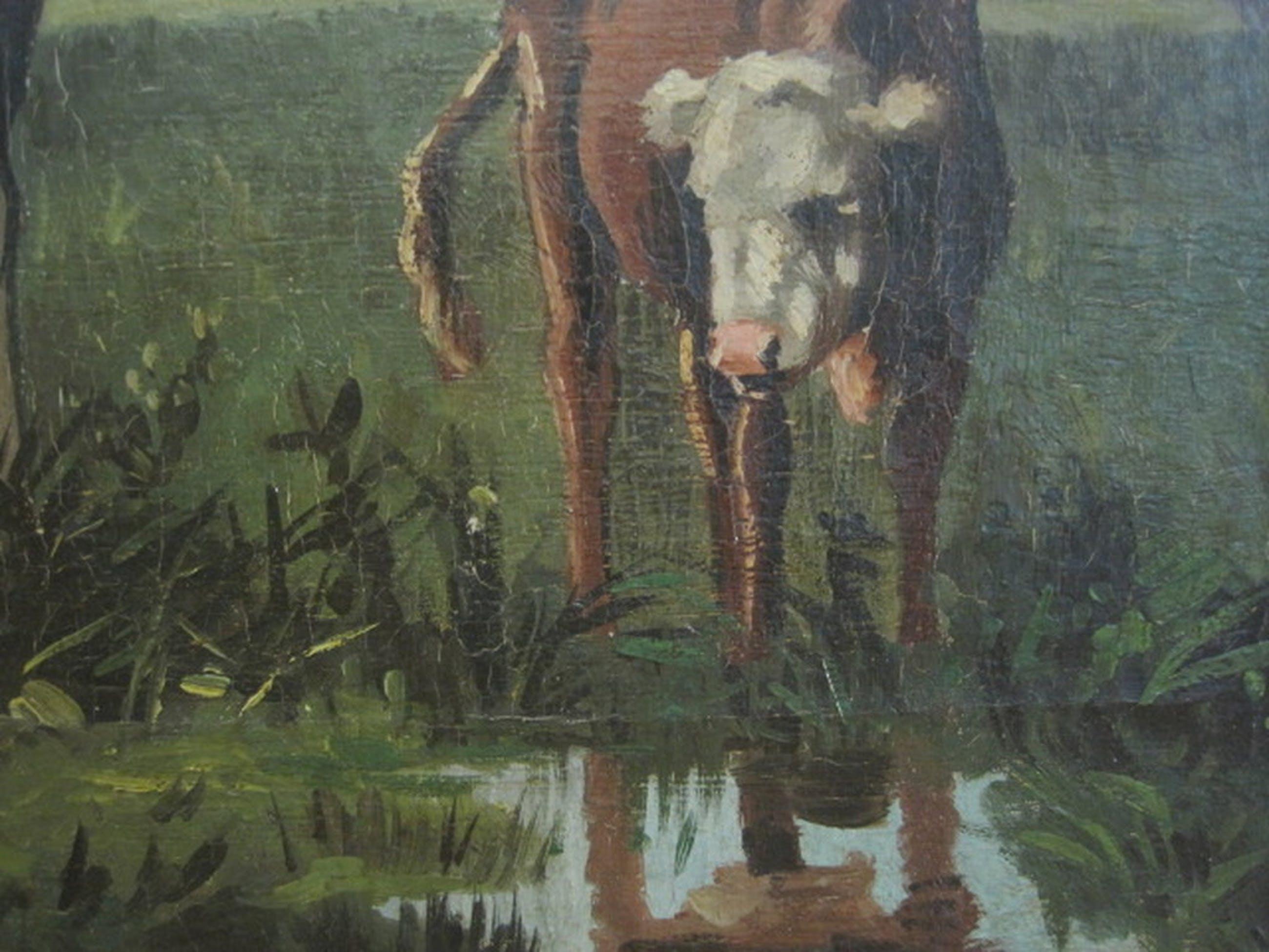"""omstreeks 1900 olieverf/doek """"koeien aan waterkant"""" met signatuur kopen? Bied vanaf 1!"""