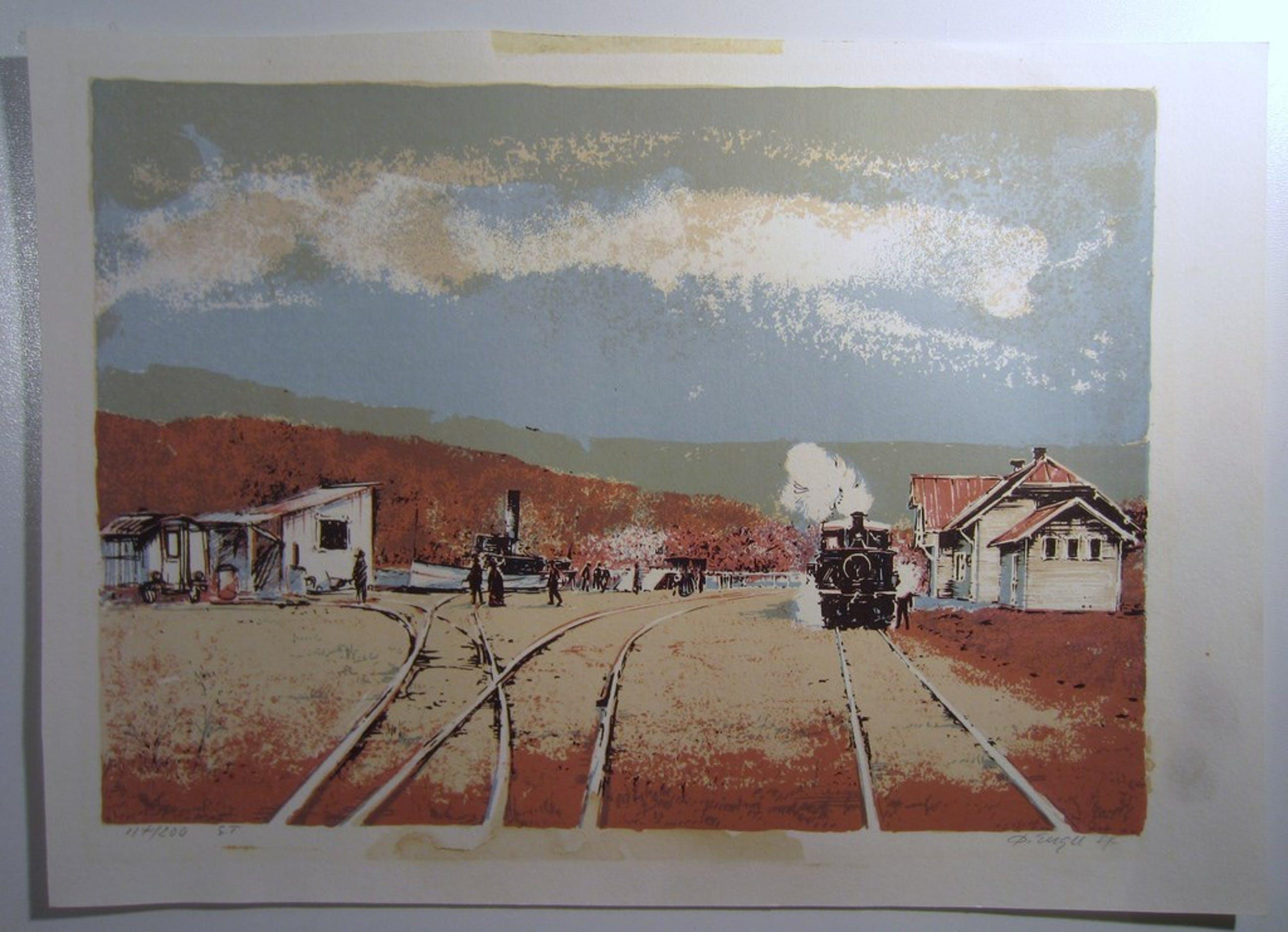 Litho met stoomtrein en stoomboot - Oivind Enger (1936) - Noorwegen kopen? Bied vanaf 1!