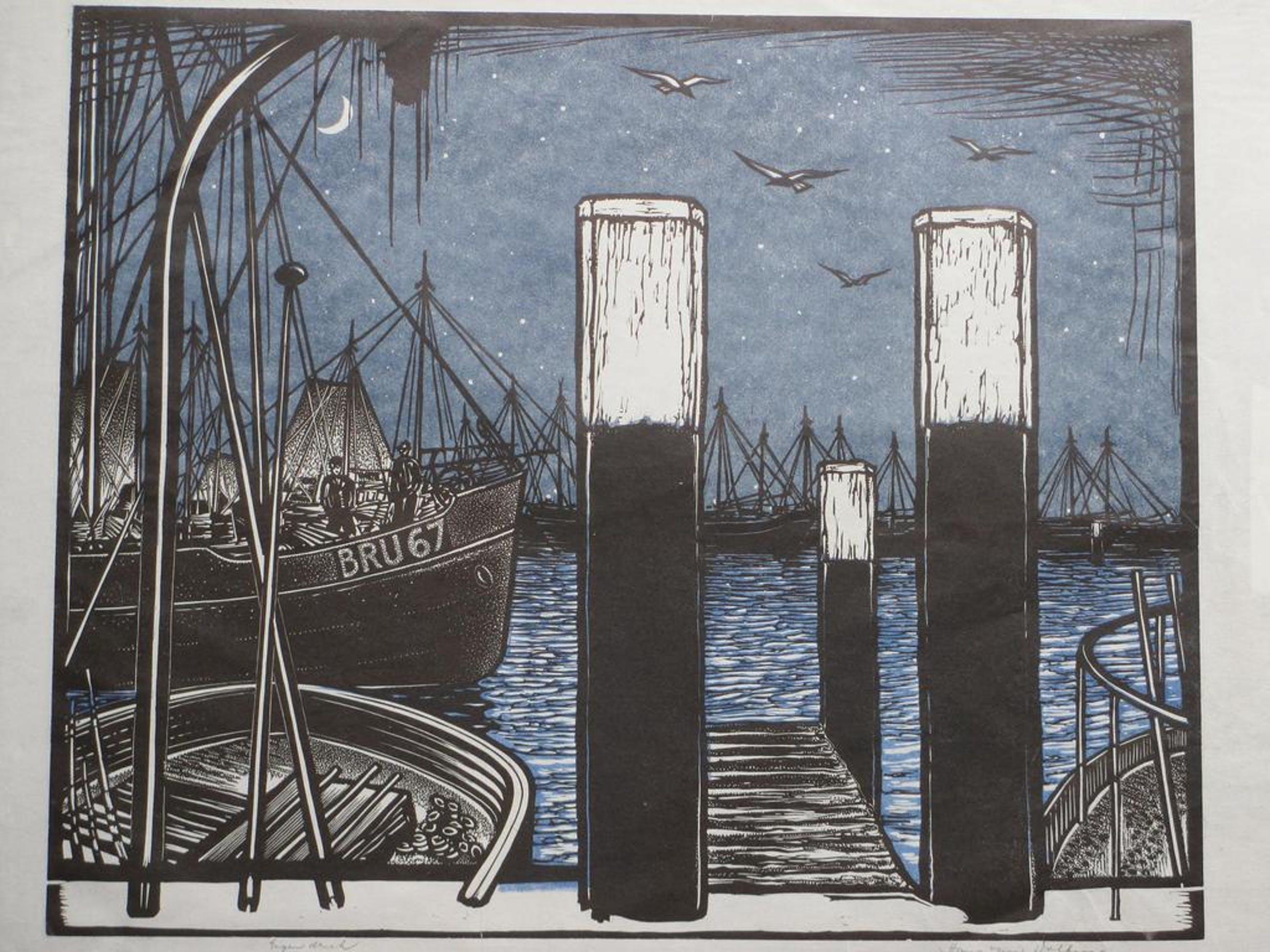 Hans van Dokkum, Schepen in de haven bij avond, Kleurlinosnede kopen? Bied vanaf 40!