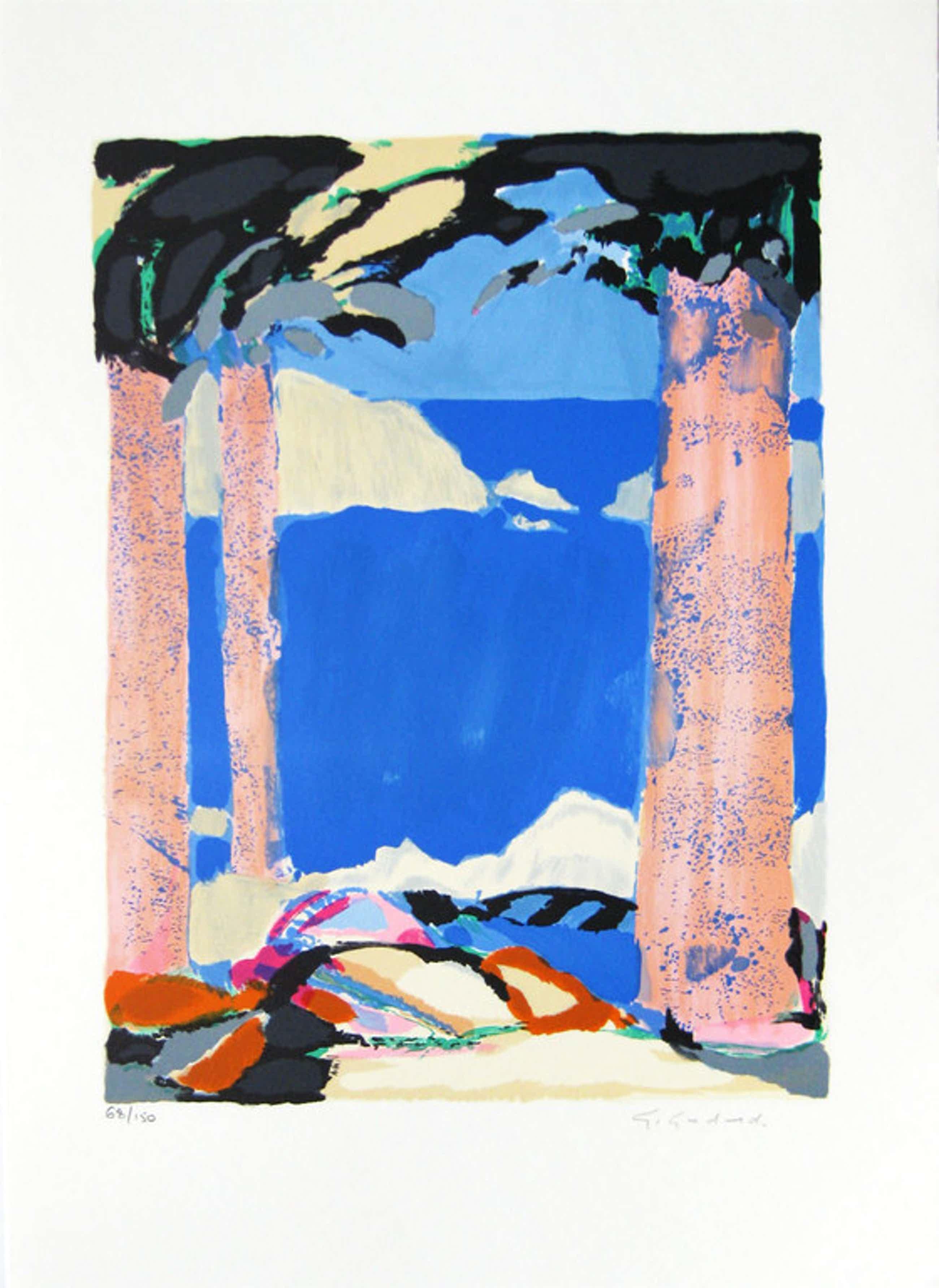 "Gabriel Godard - ""Symphonie en Bleu IV"" - Kleuren litho - Handgesigneerd kopen? Bied vanaf 67!"