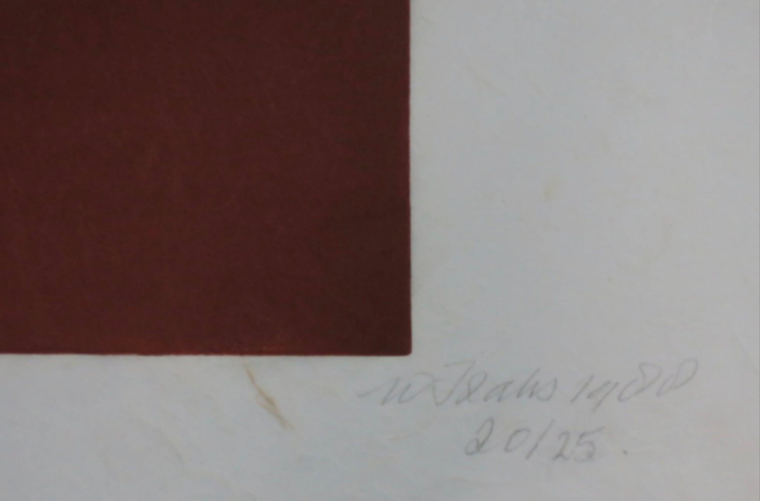 Wim Izaks: Lino op rijstpapier, Zonder titel (rood) kopen? Bied vanaf 1!